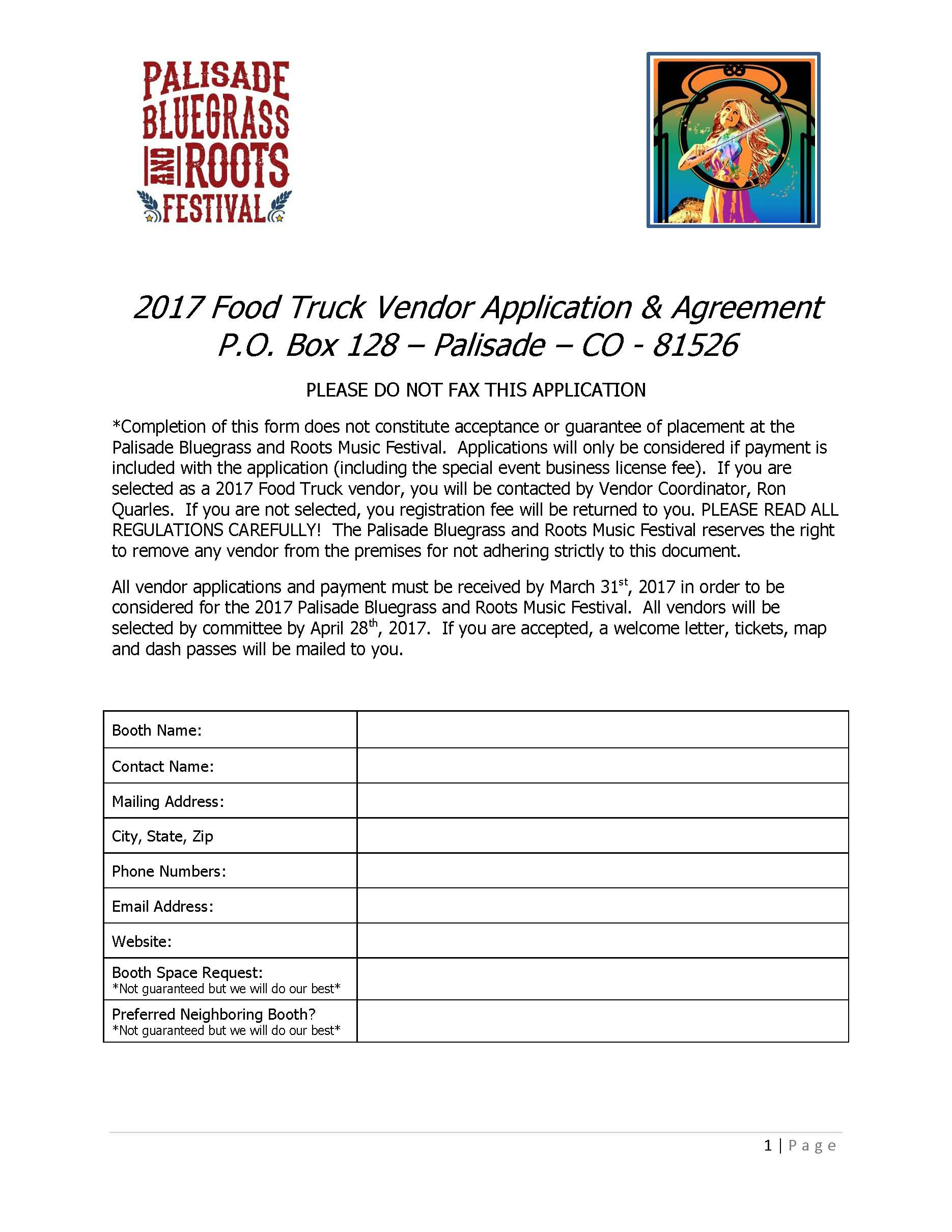 2017 Food Truck Vendor Application Page 1