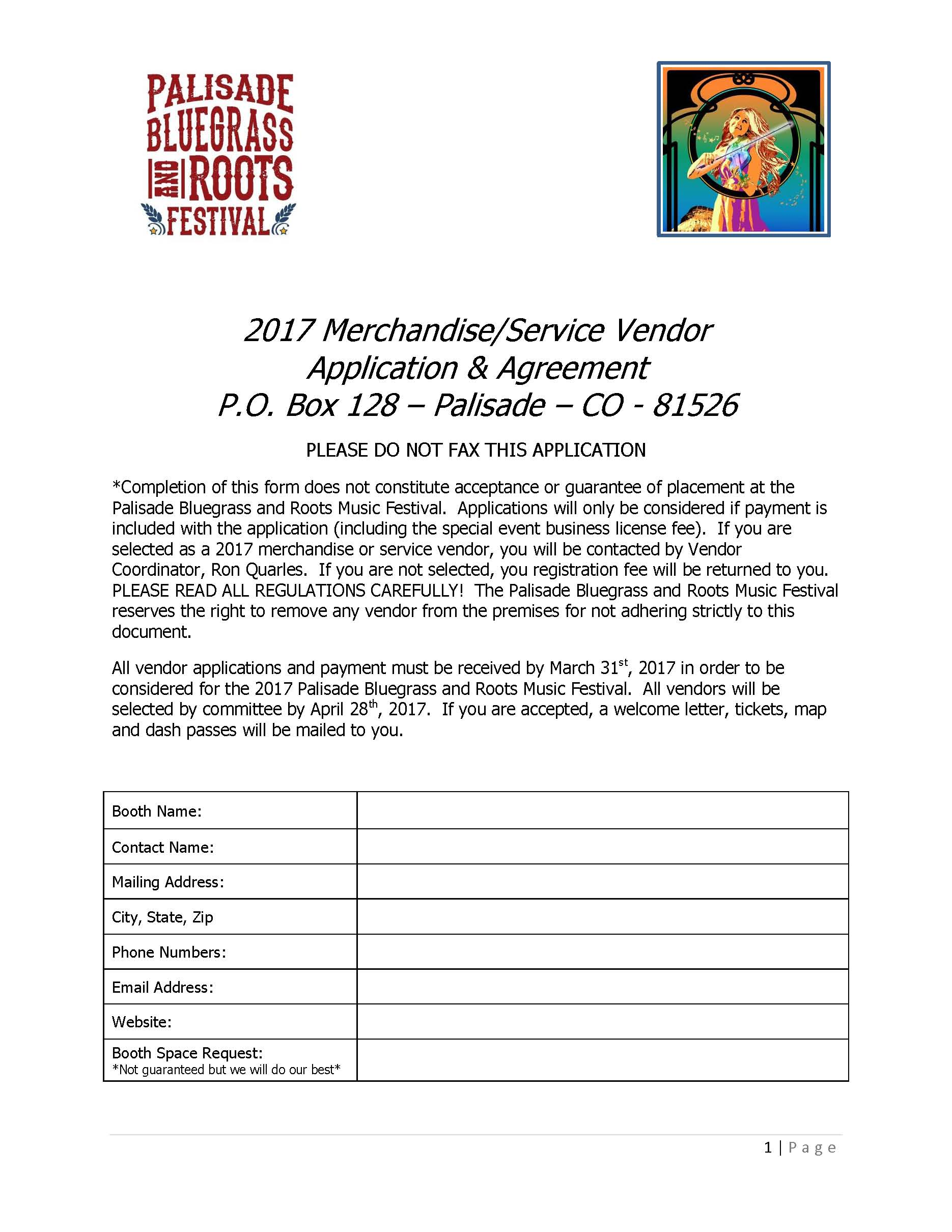 2017 Merchandise Service Vendor Application Page 1