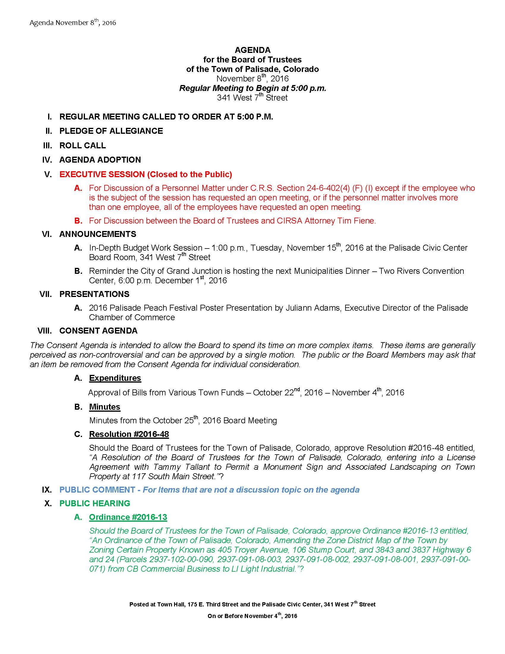 November 8th 2016 Board Meeting Agenda Page 1