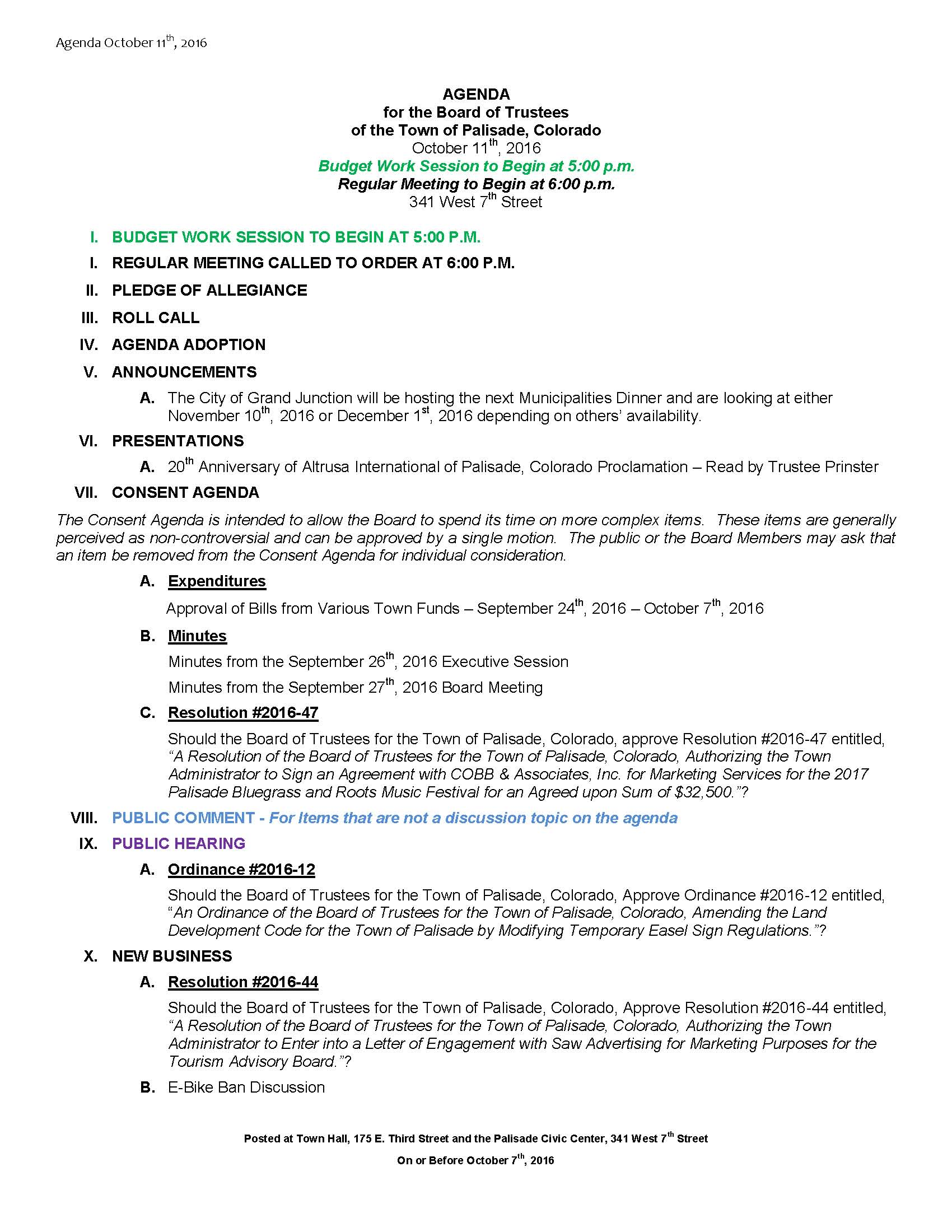 October 11th 2016 Board Meeting Agenda Page 1