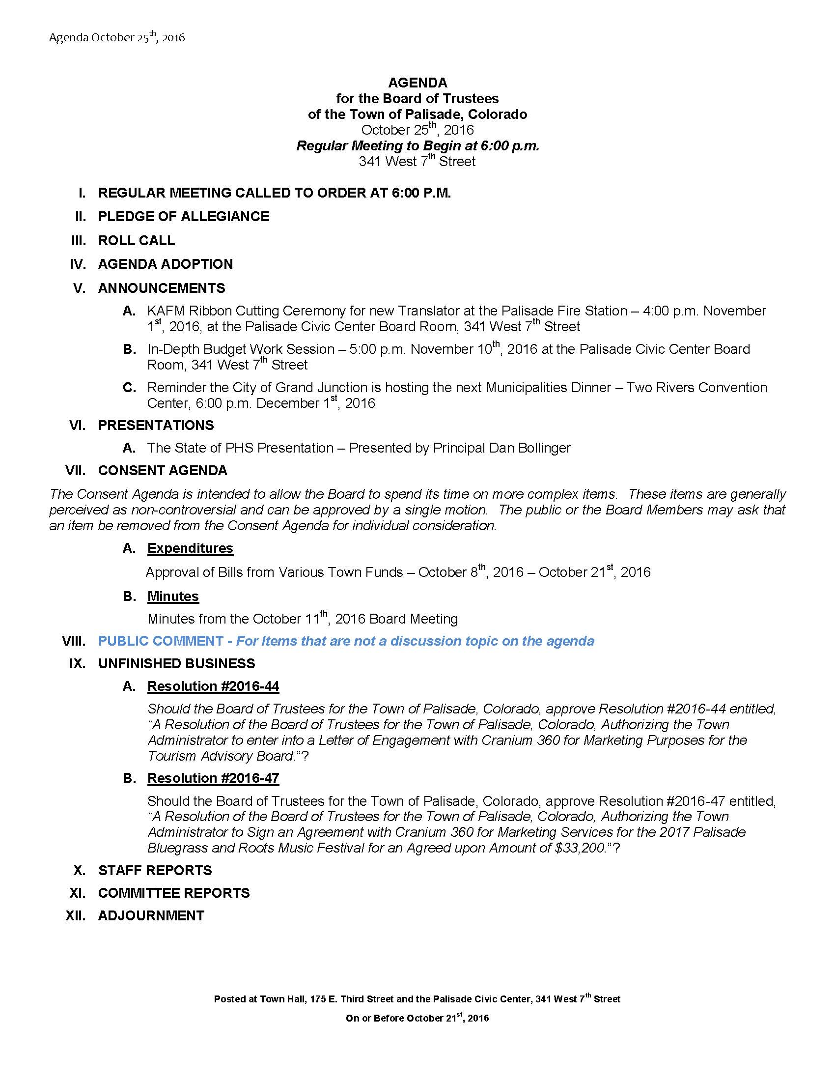 October 25th 2016 Board Meeting Agenda
