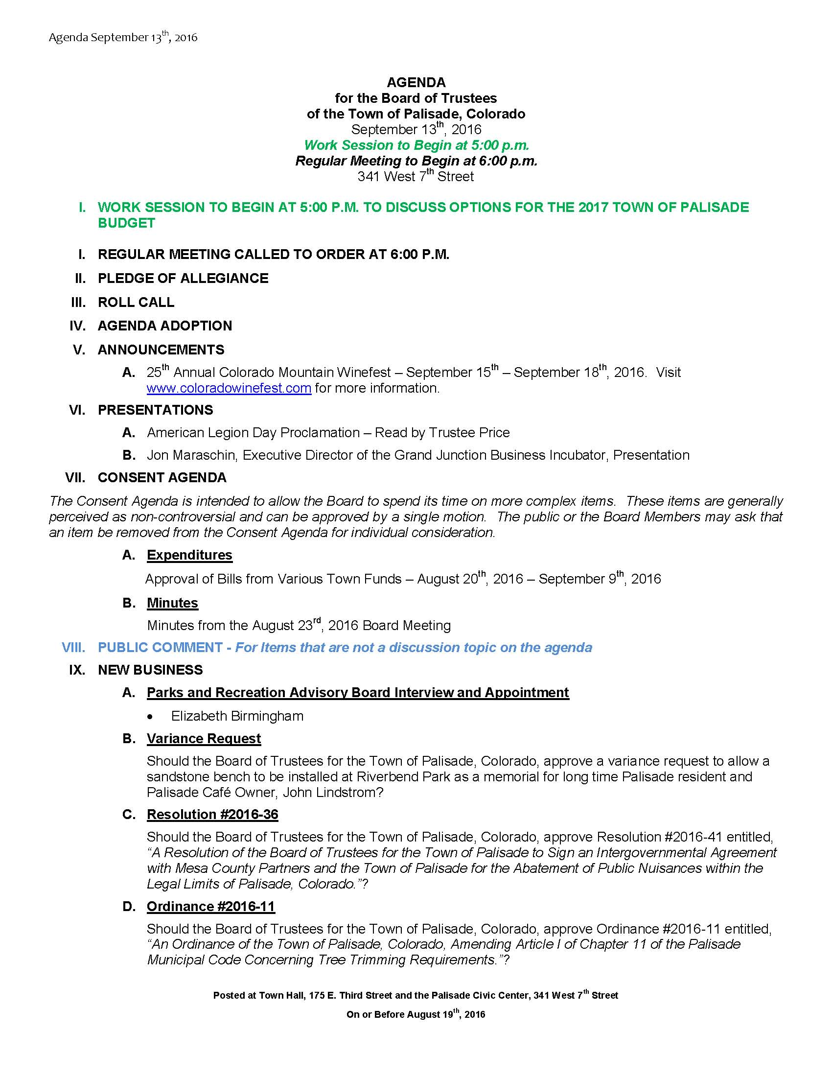 September 13th 2016 Board Meeting Agenda Page 1