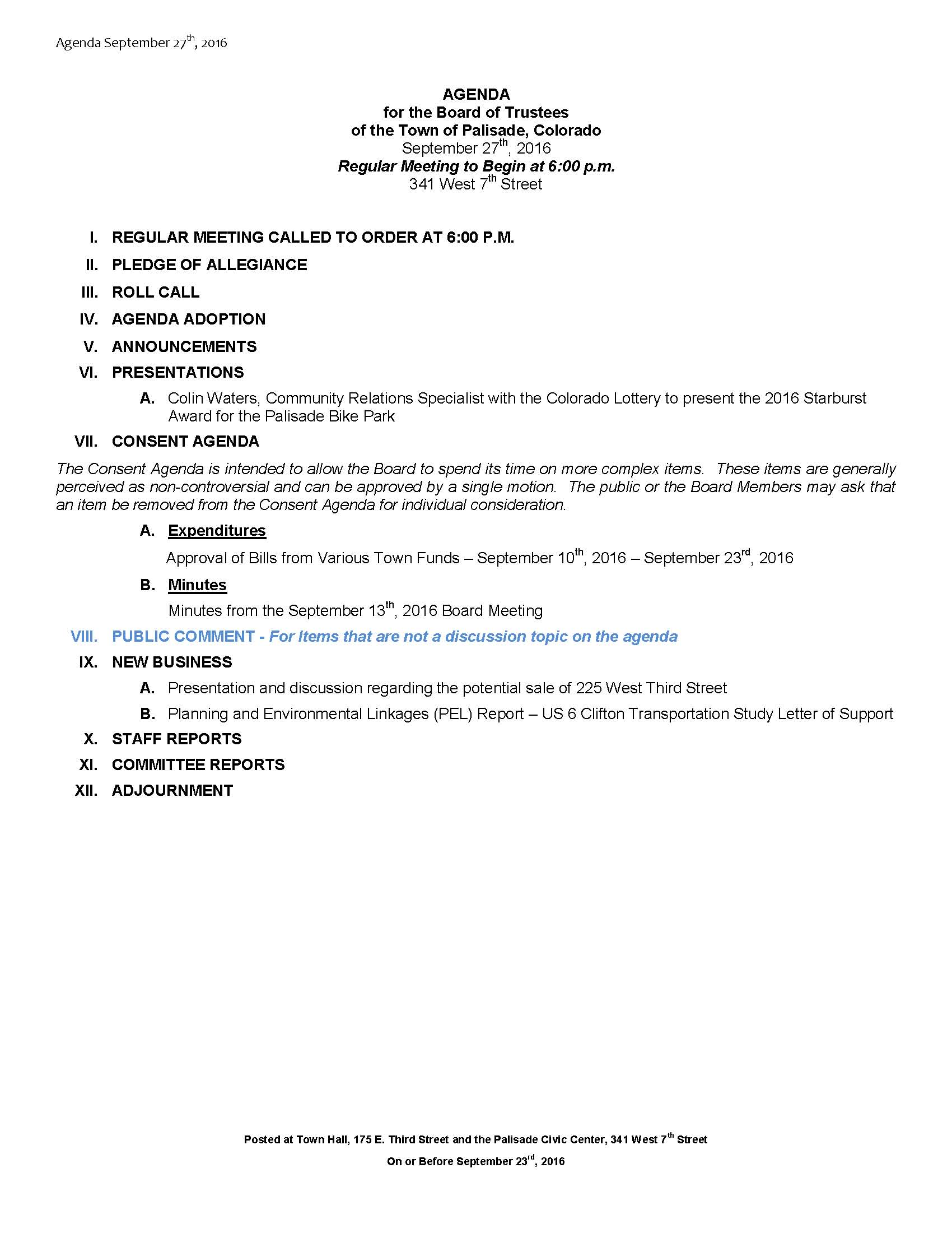 September 27th 2016 Board Meeting Agenda