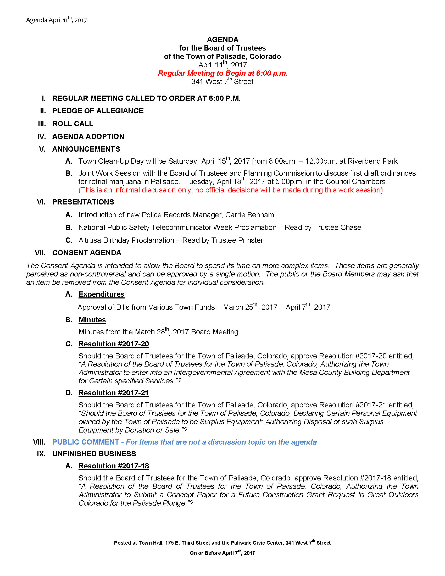 April 11th 2017 Board Meeting Agenda Page 1