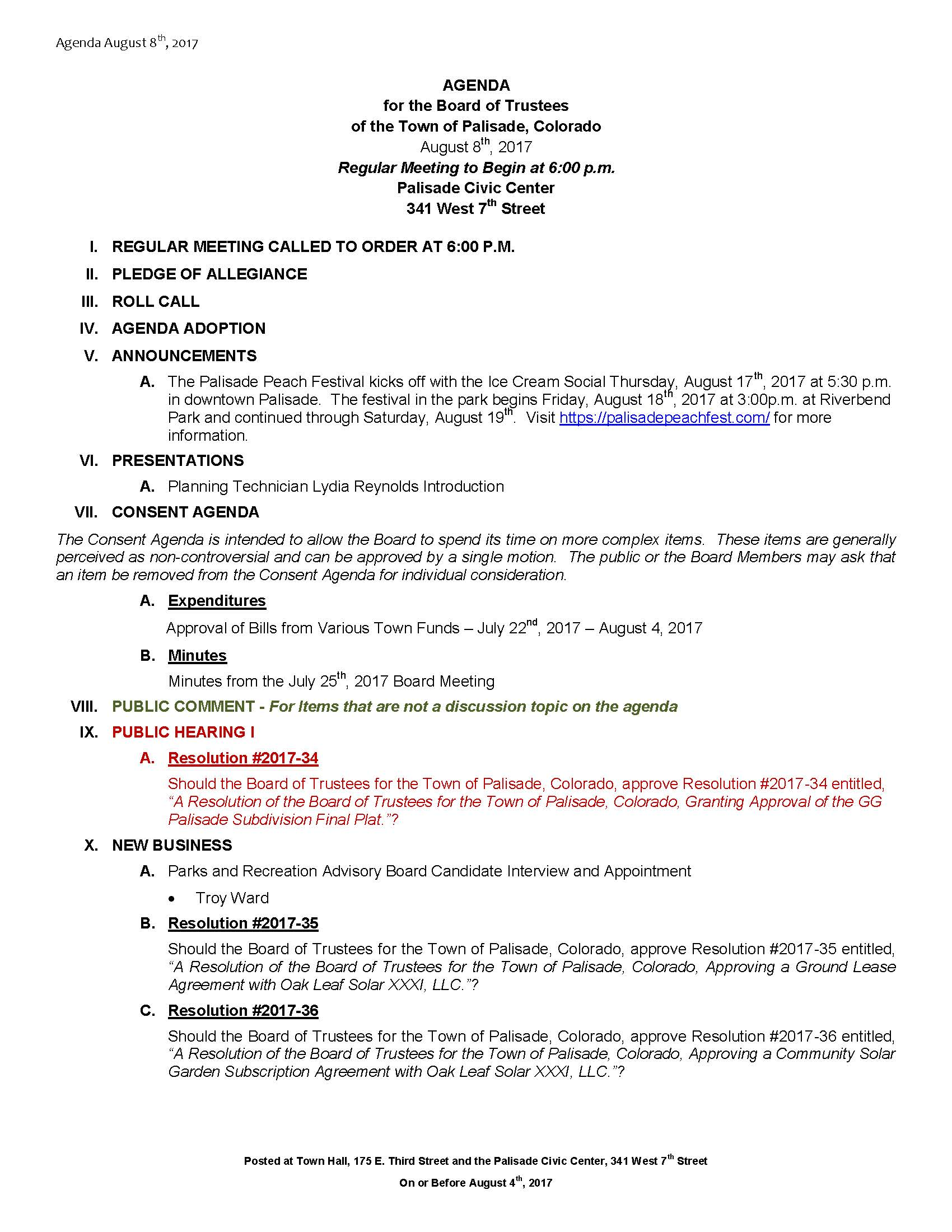 August 8th 2017 Board Meeting Agenda Page 1
