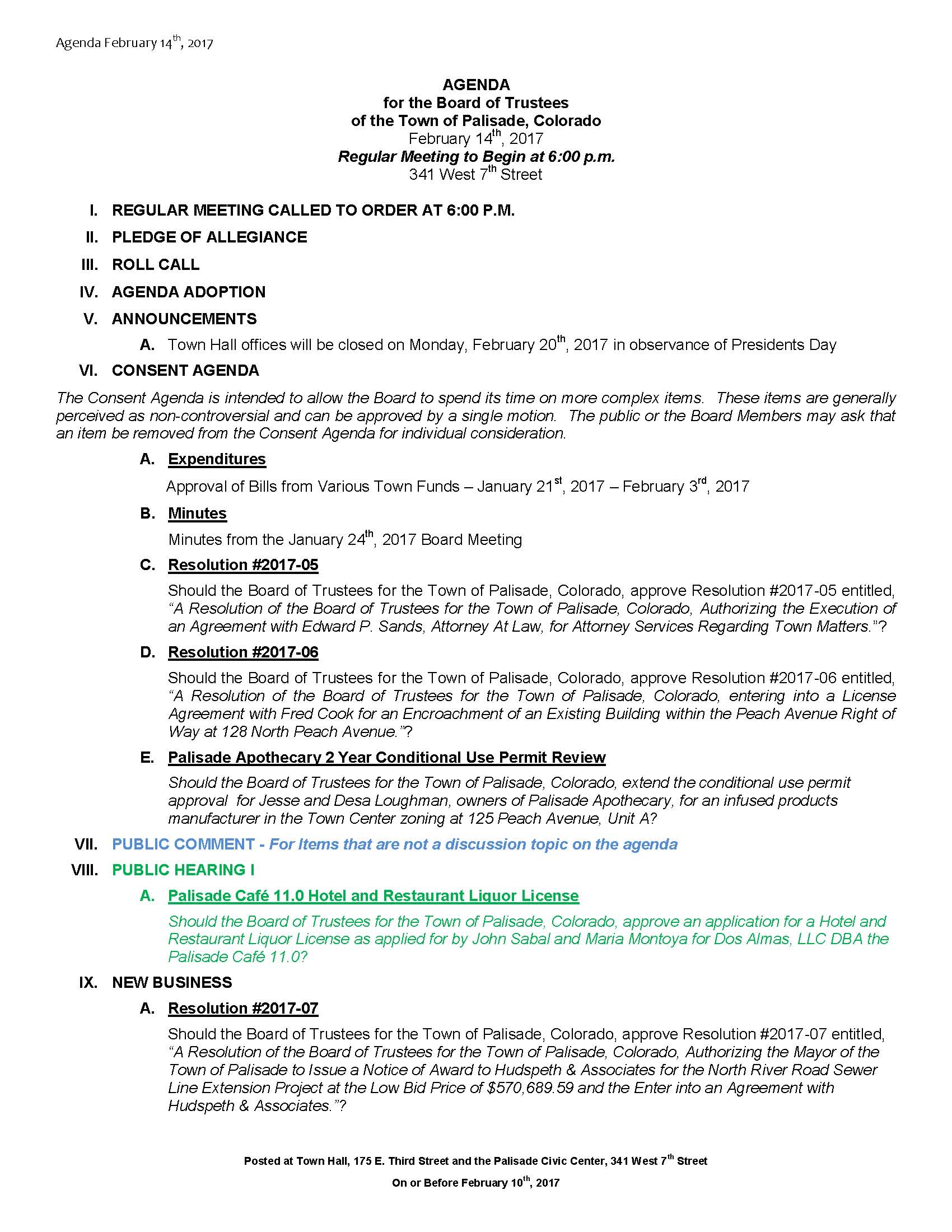 February 14th 2017 Board Meeting Agenda Page 1