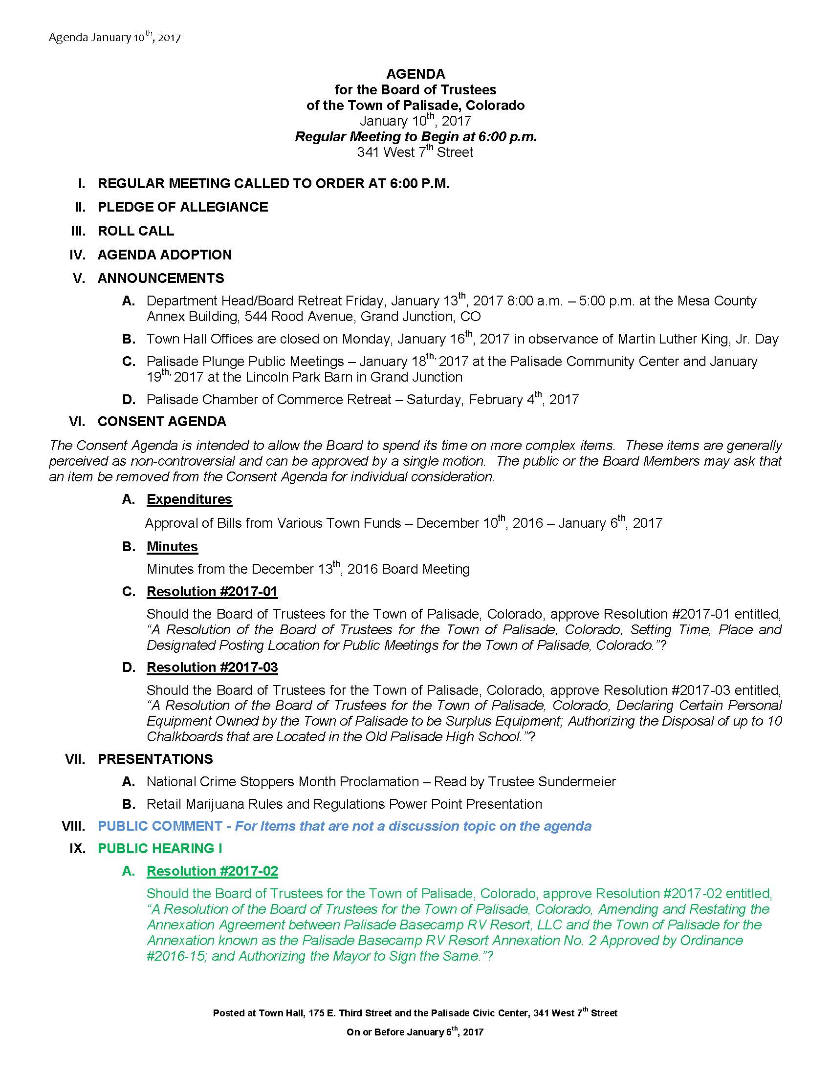 January 10th 2017 Board Meeting Agenda Page 1