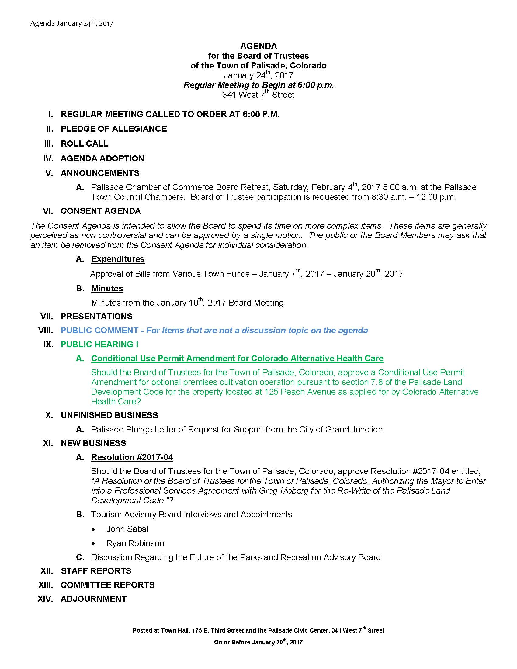 January 24th 2017 Board Meeting Agenda