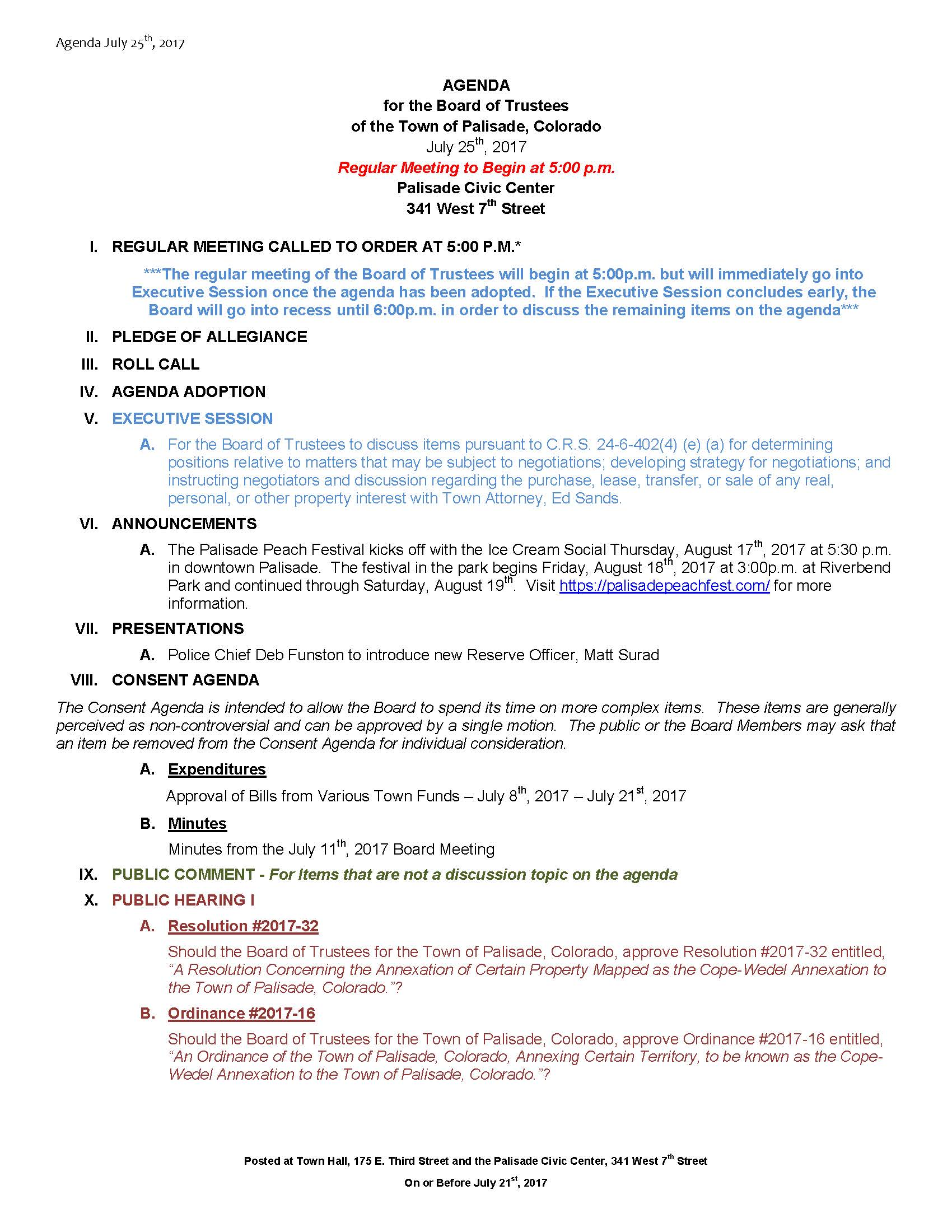 July 25th 2017 Board Meeting Agenda Page 1
