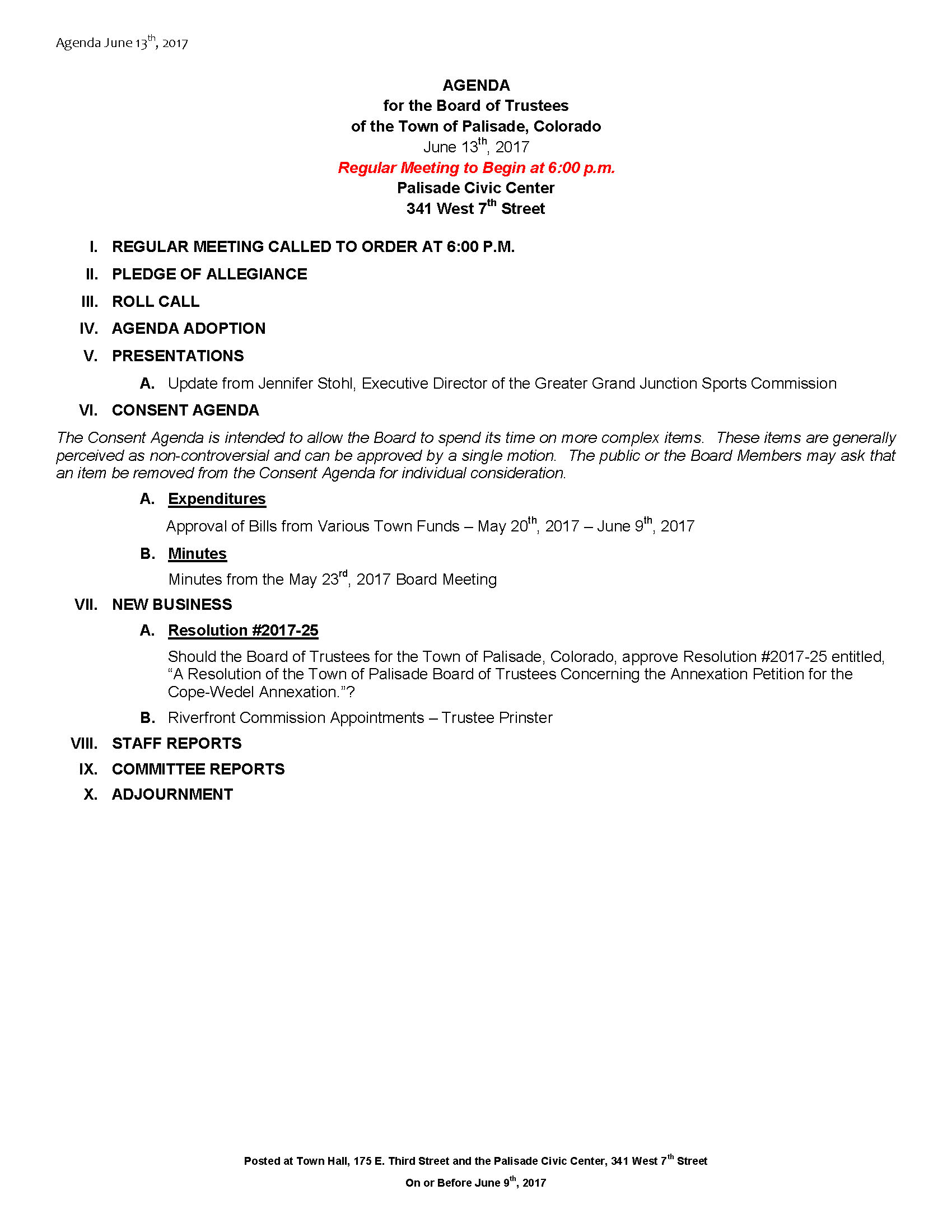June 13th 2017 Board Meeting Agenda
