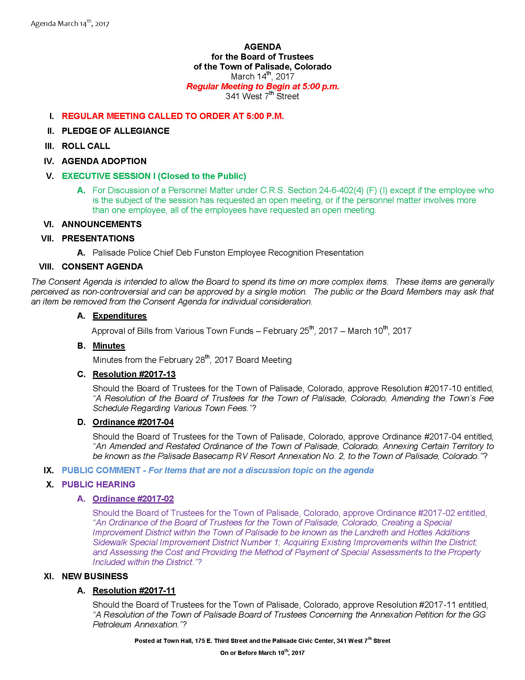 March 14th 2017 Board Meeting Agenda Page 1