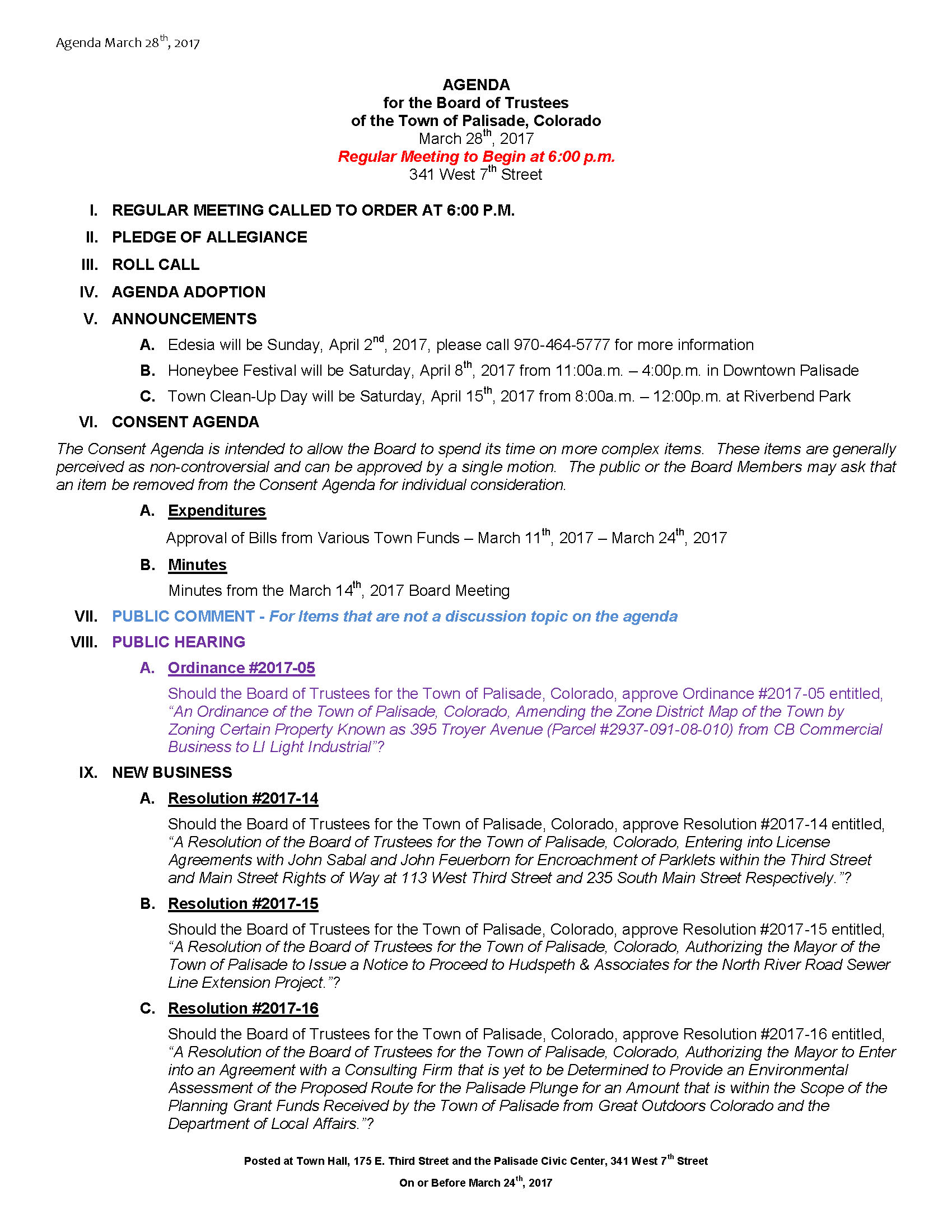 March 28th 2017 Board Meeting Agenda Page 1