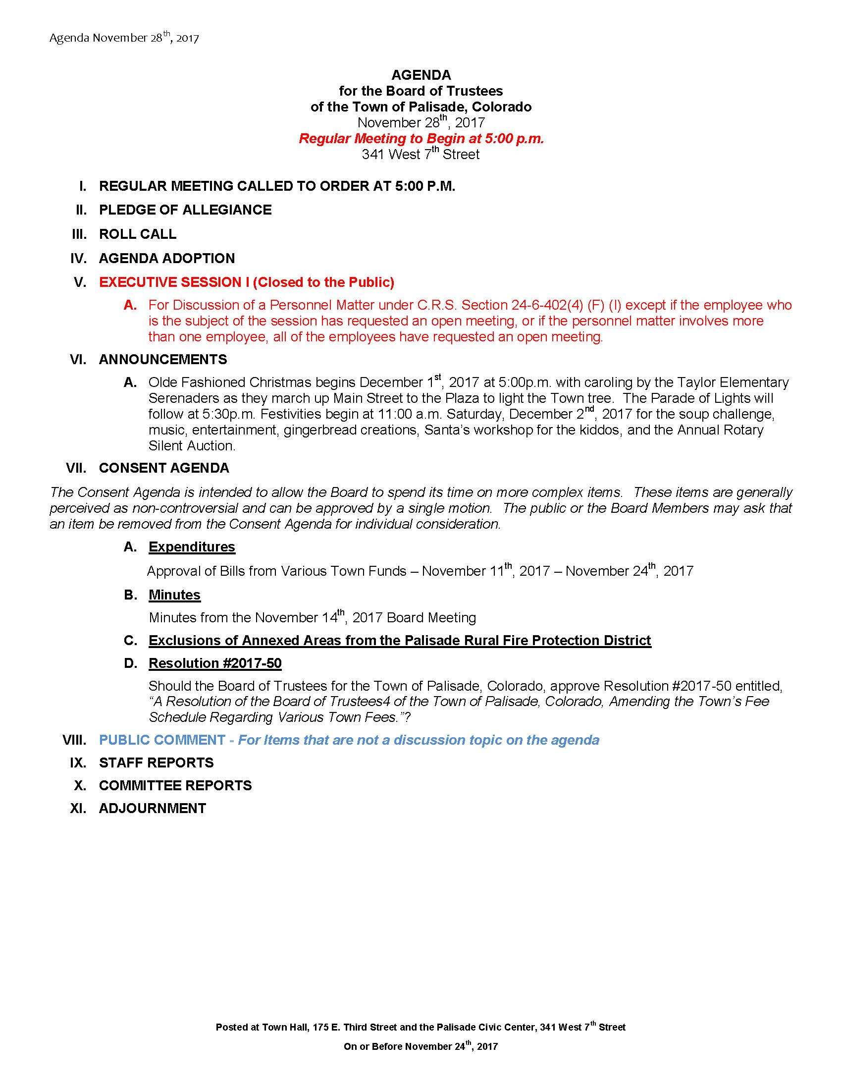 November 28th 2017 Board Meeting Agenda
