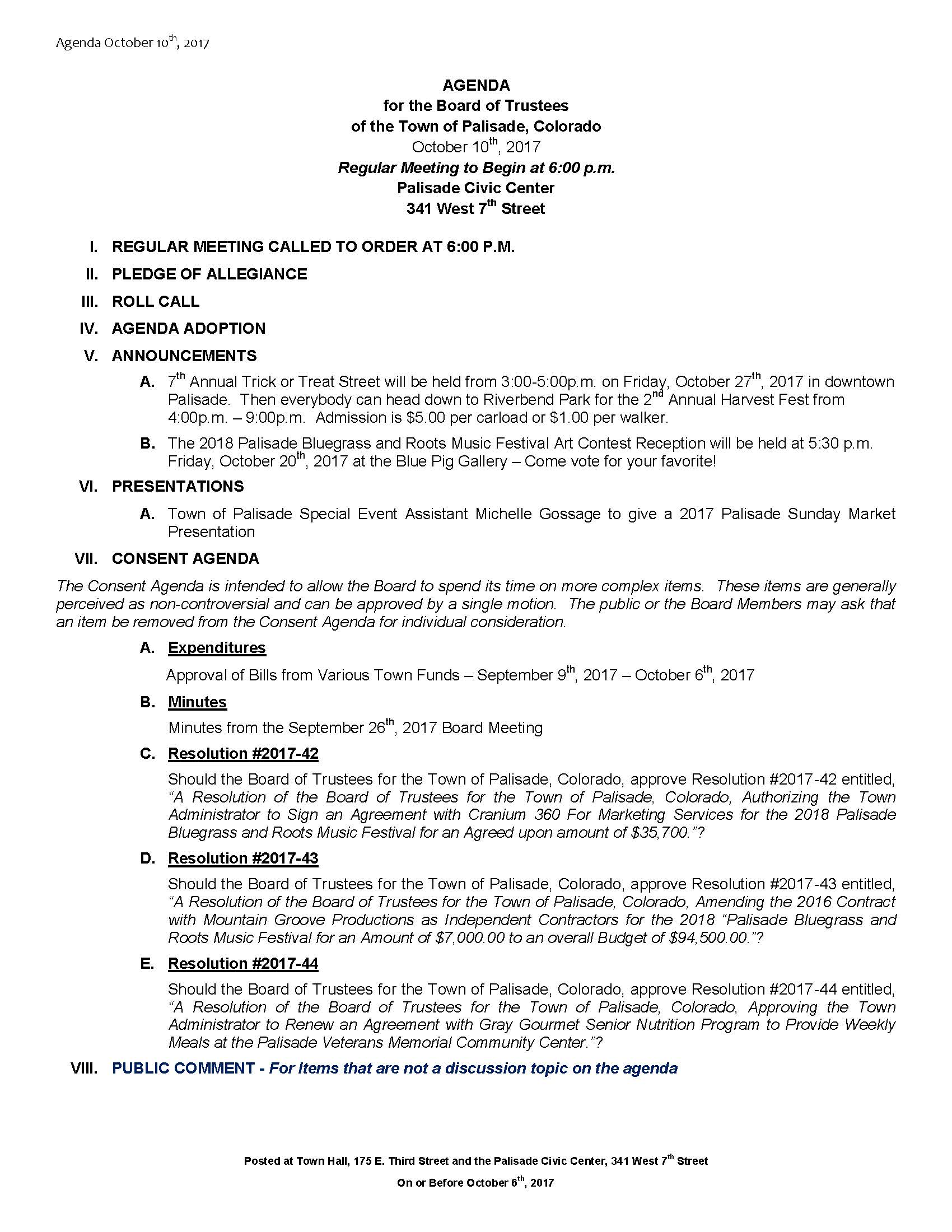 October 10th 2017 Board Meeting Agenda Page 1