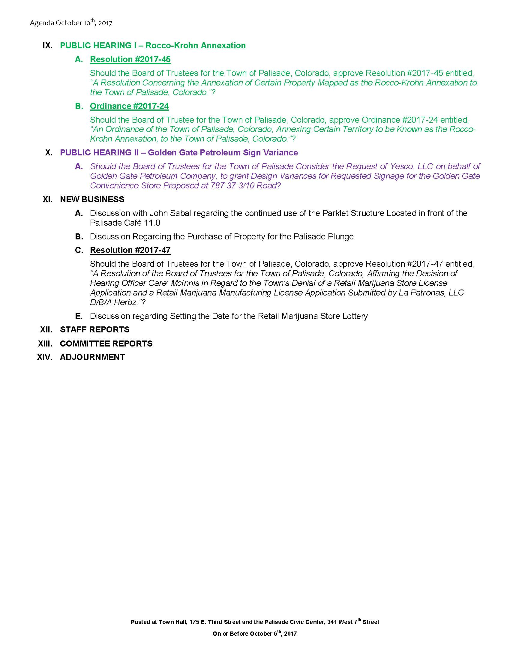 October 10th 2017 Board Meeting Agenda Page 2