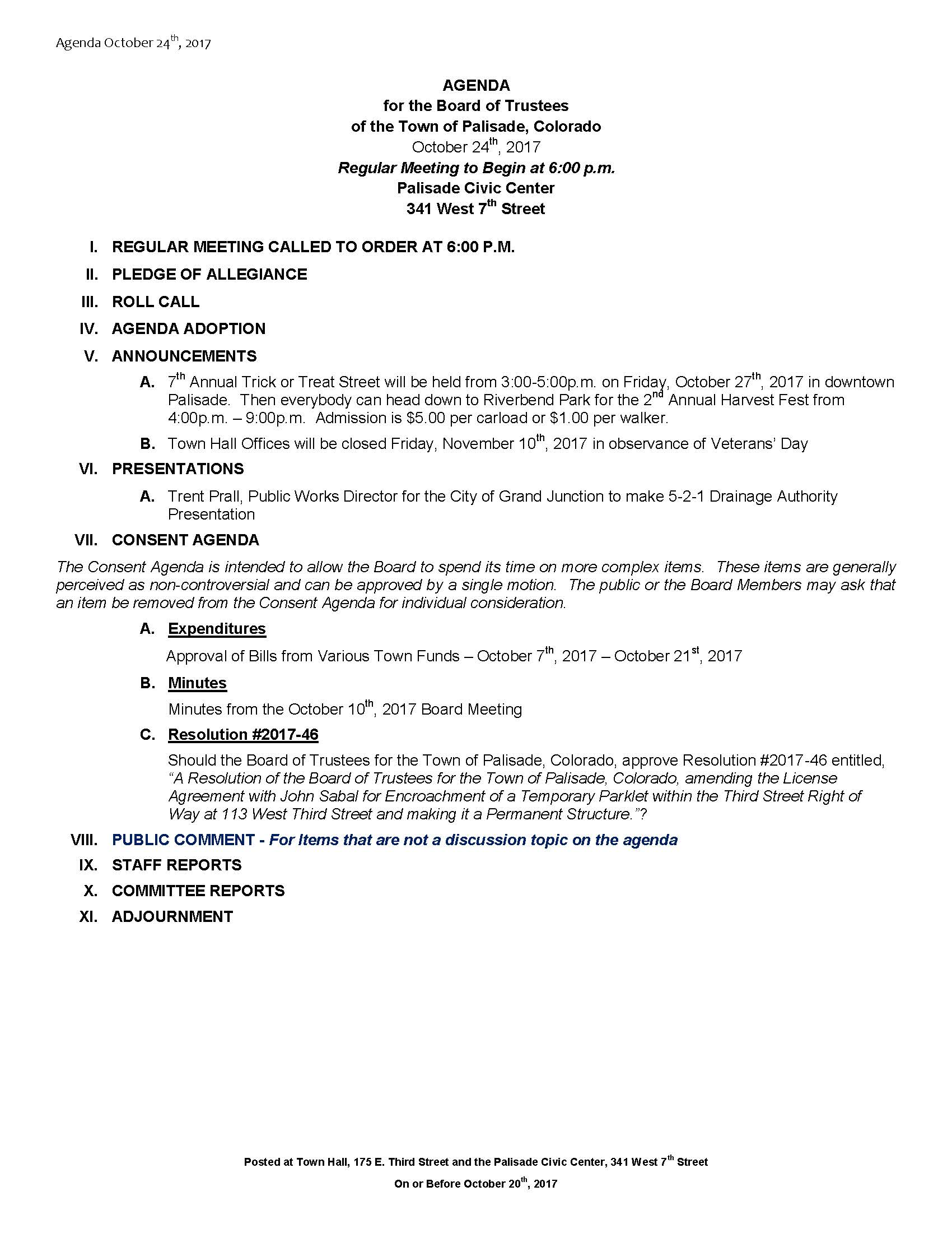 October 24th 2017 Board Meeting Agenda
