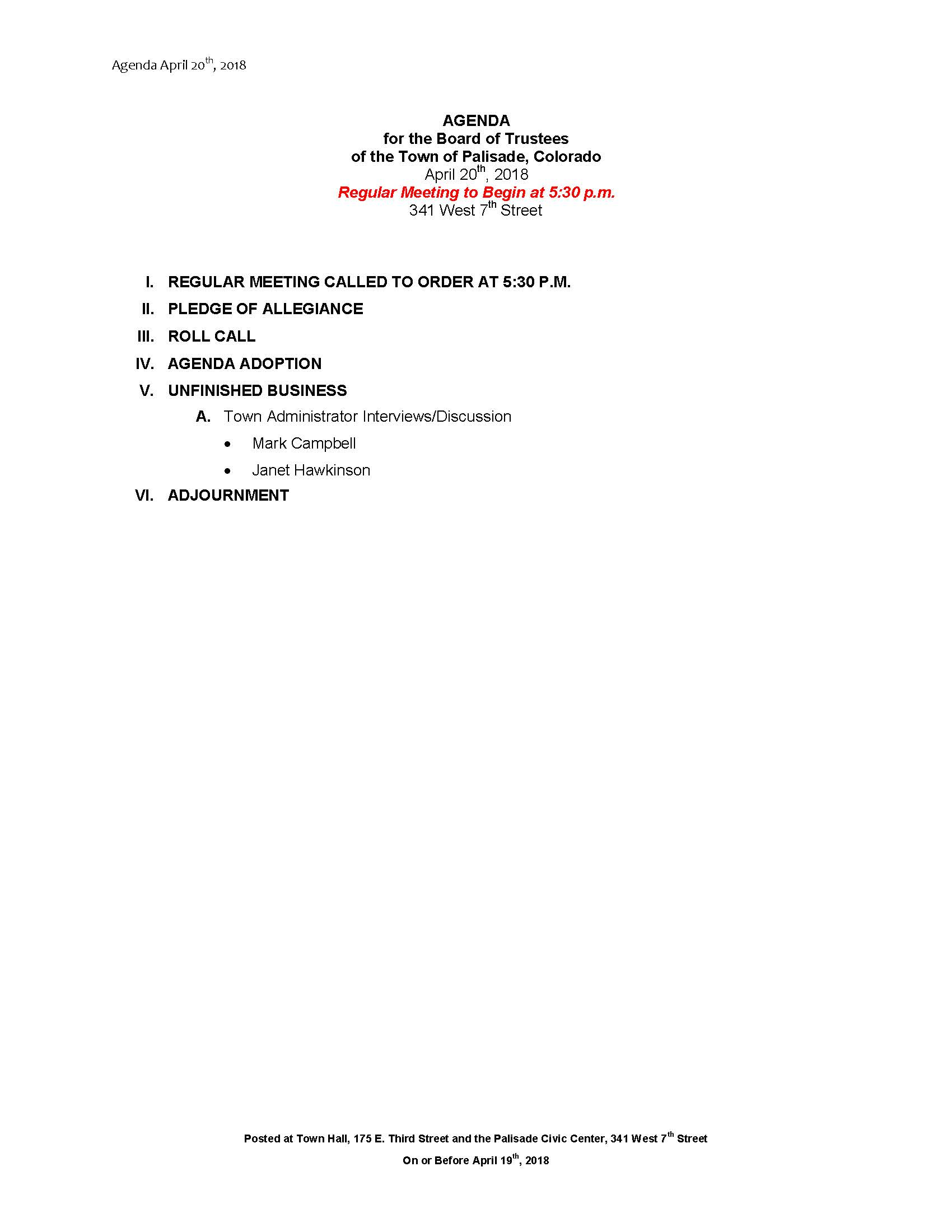 April 20th 2018 SPECIAL MEETING Agenda