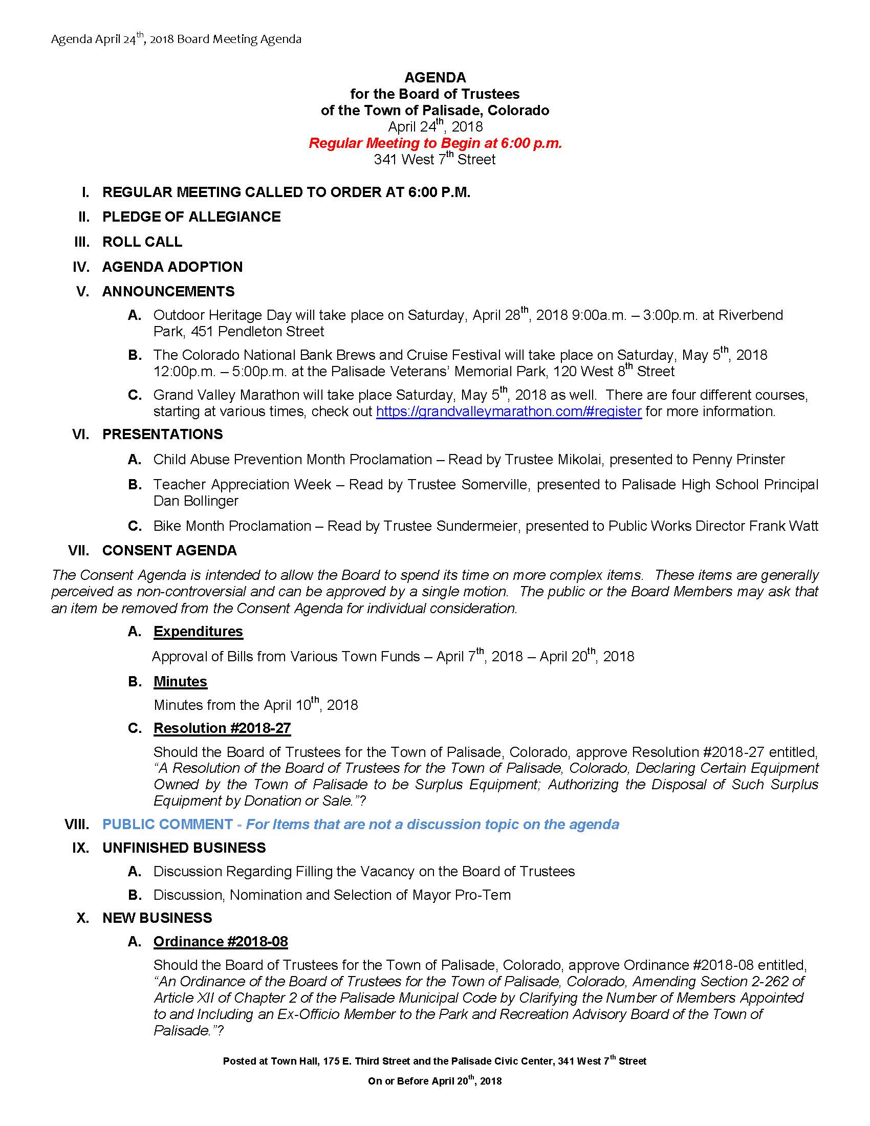 April 24th 2018 Board Meeting Agenda Page 1