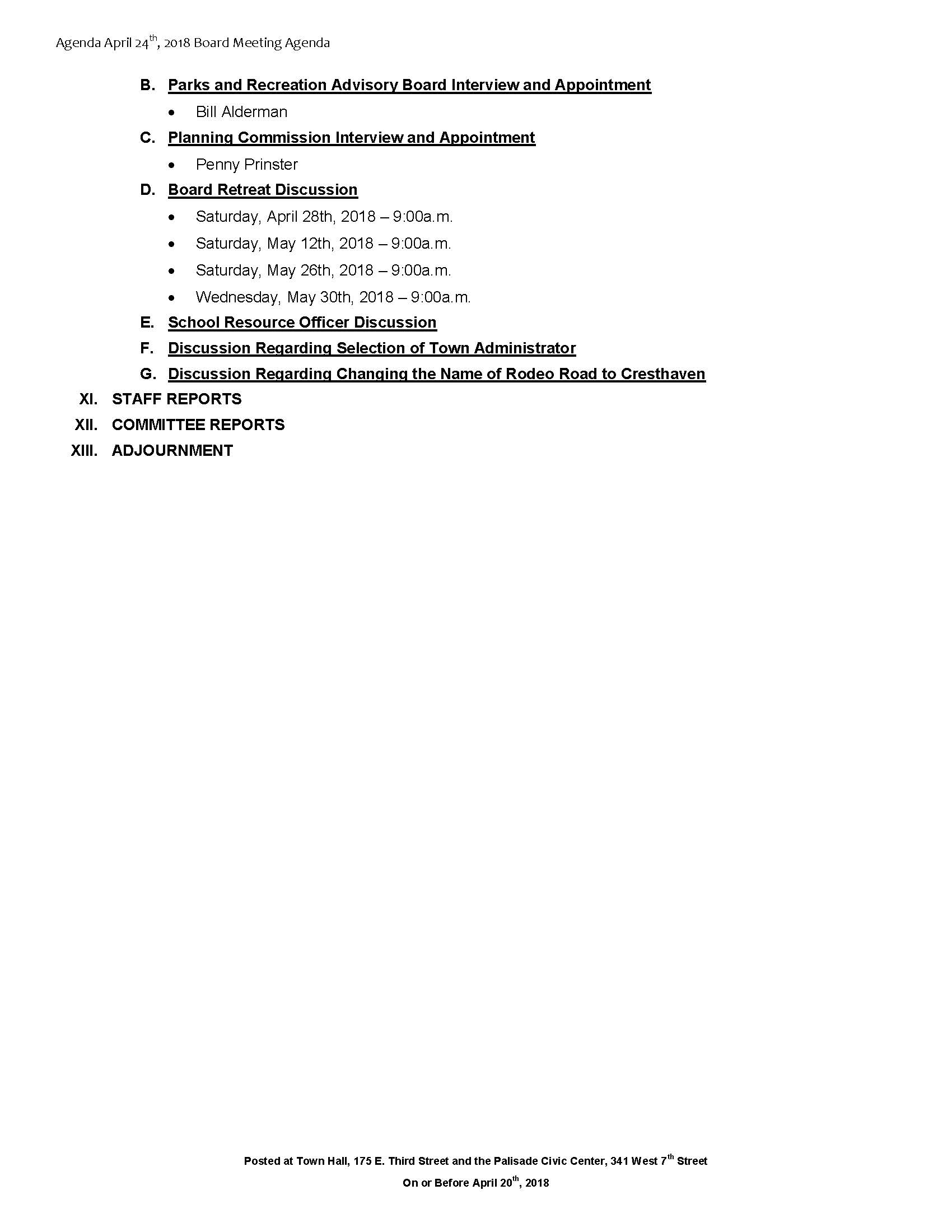 April 24th 2018 Board Meeting Agenda Page 2