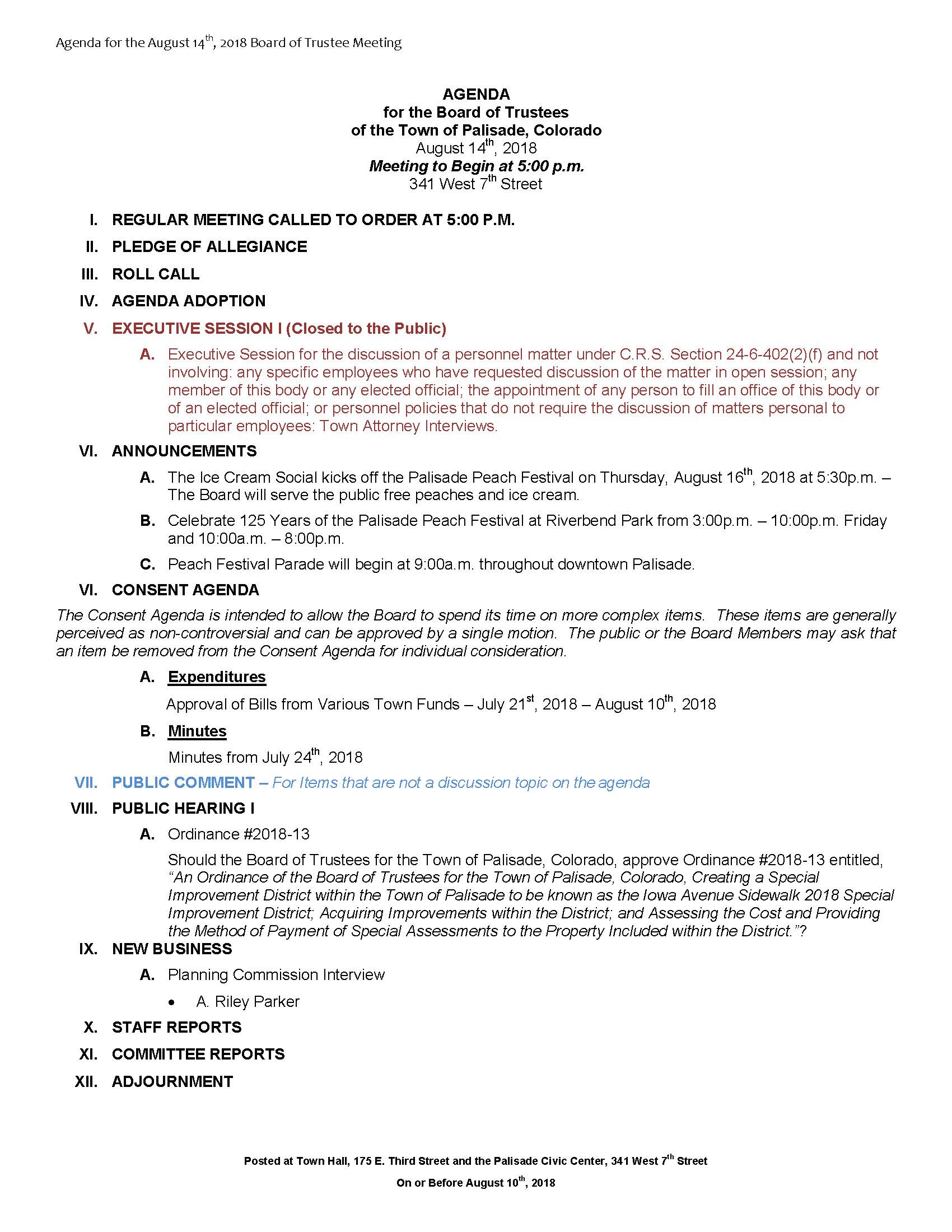 August 14th 2018 Board Meeting Agenda