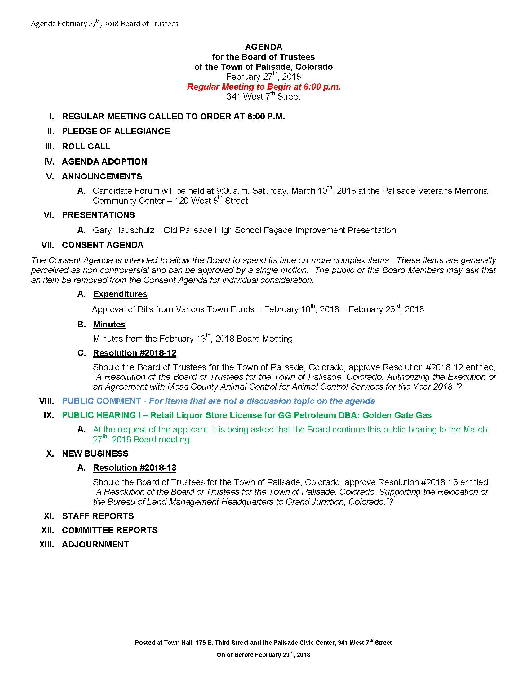 February 27th 2018 Board Meeting Agenda