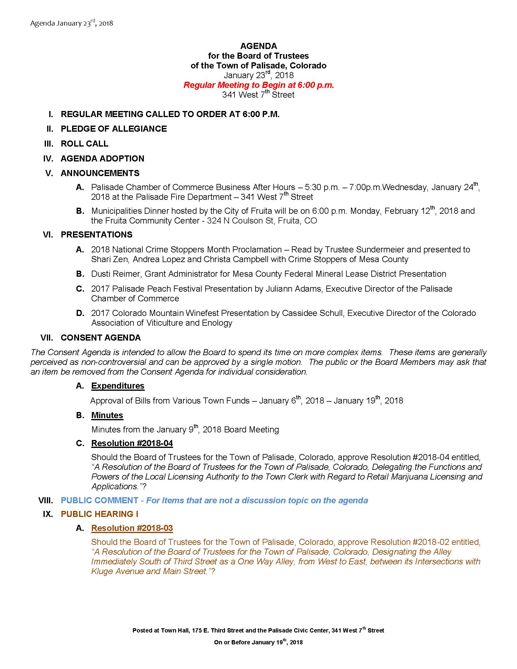 January 23rd 2018 Board Meeting Agenda Page 1