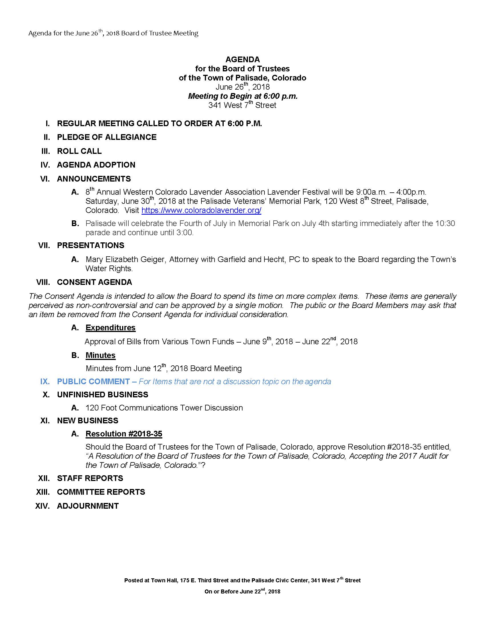 June 26th 2018 Board Meeting Agenda