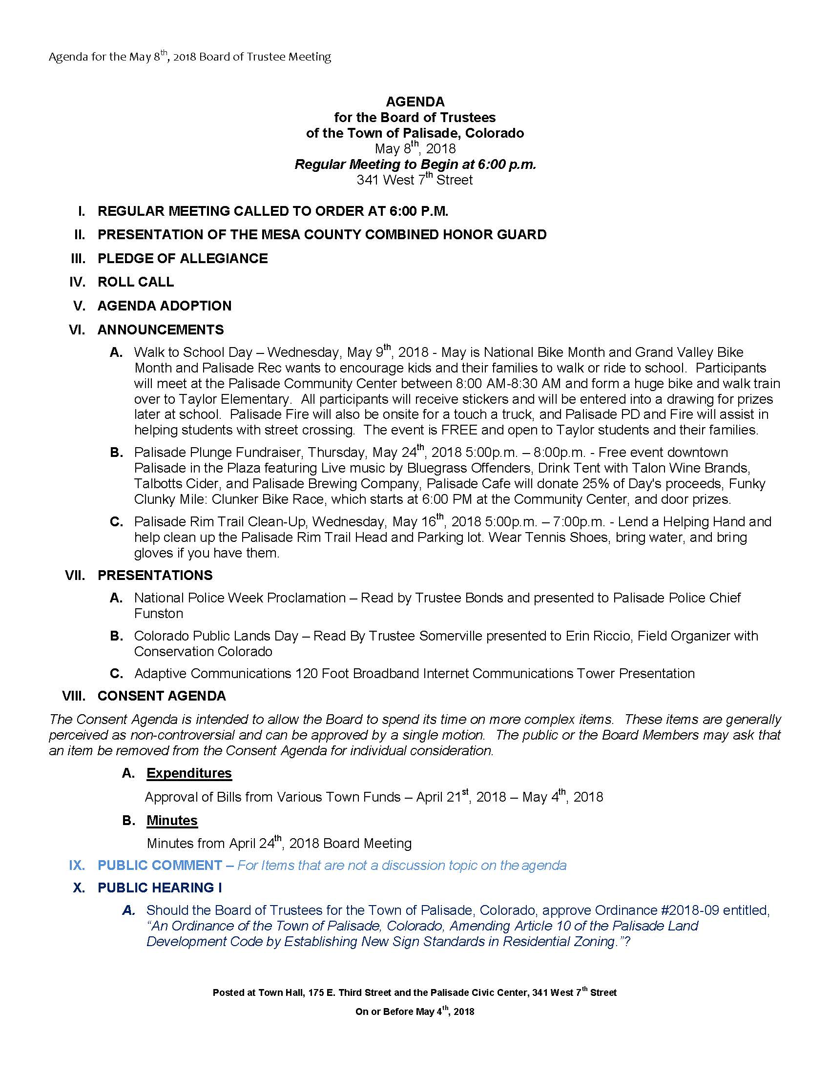 May 8th 2018 Board Meeting Agenda Page 1