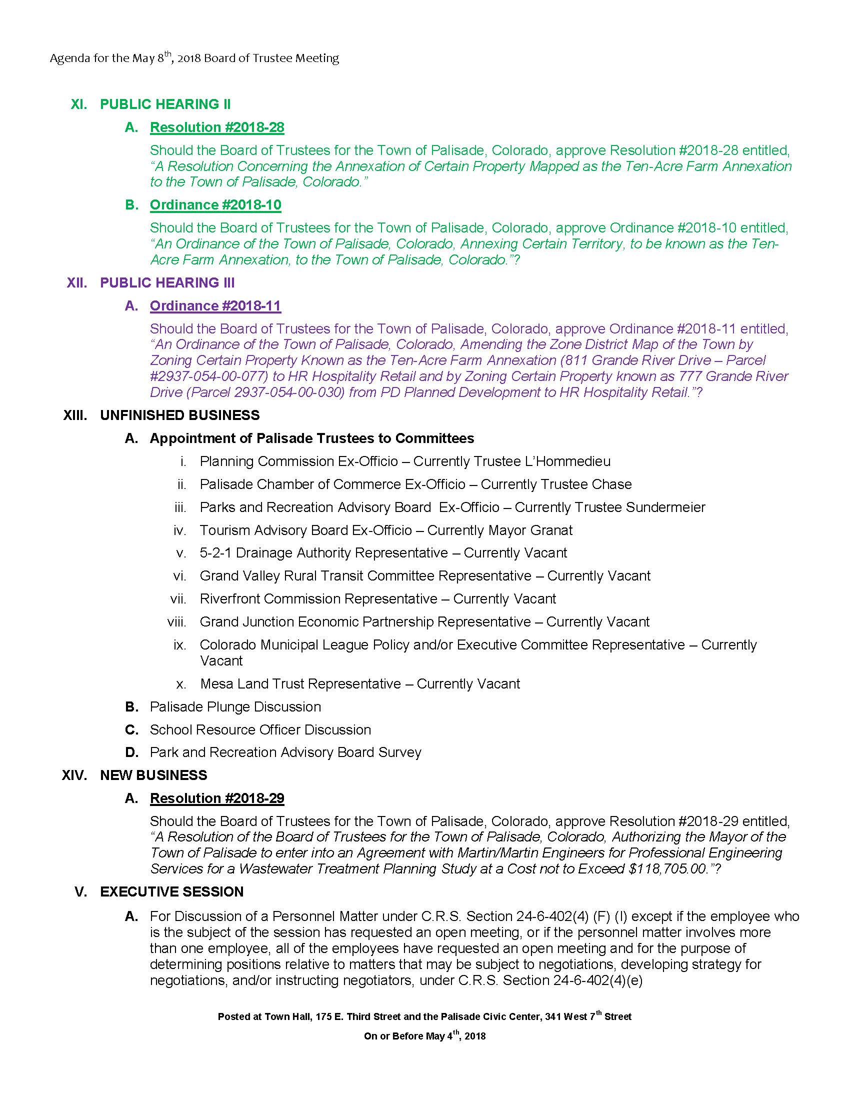 May 8th 2018 Board Meeting Agenda Page 2