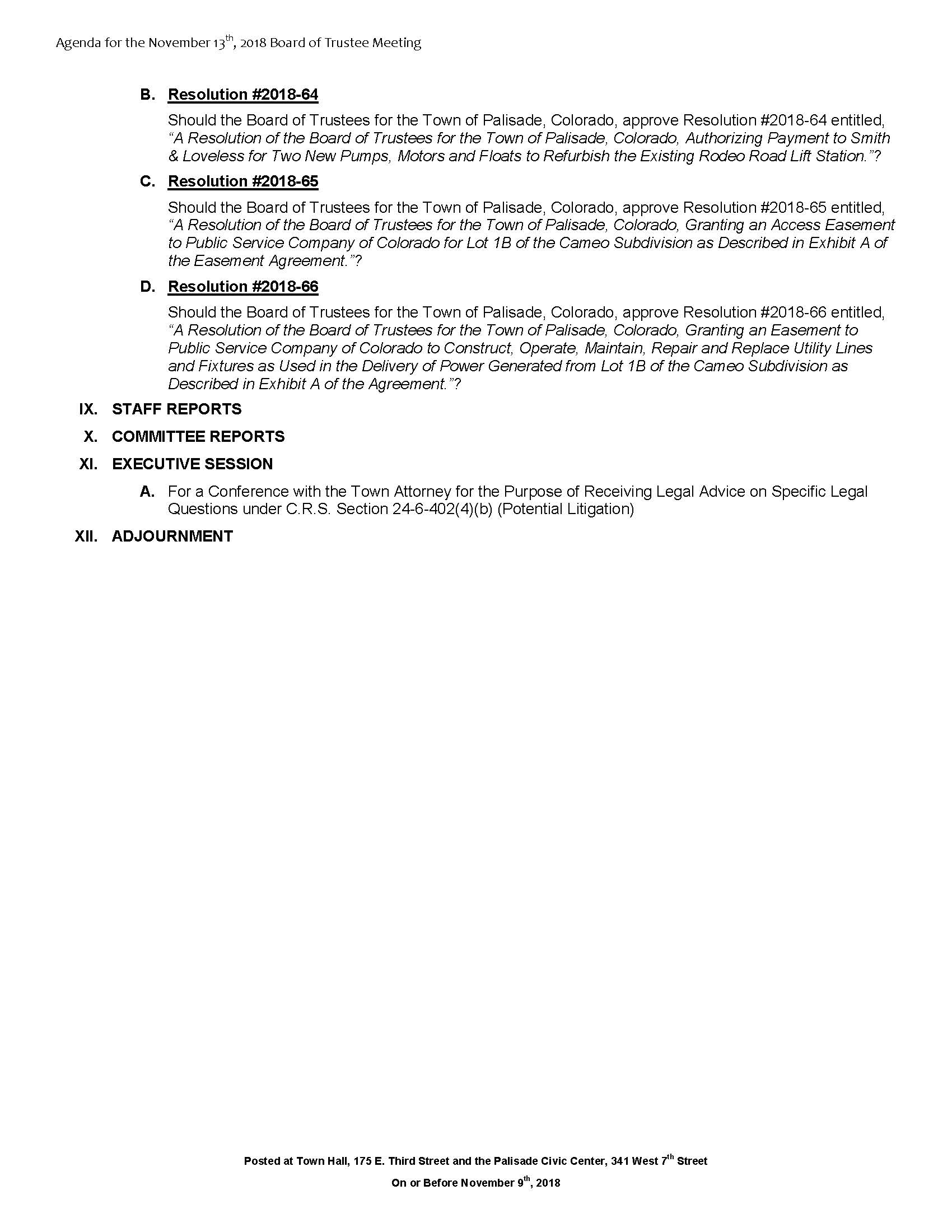 November 13th 2018 Board Meeting Agenda Page 2