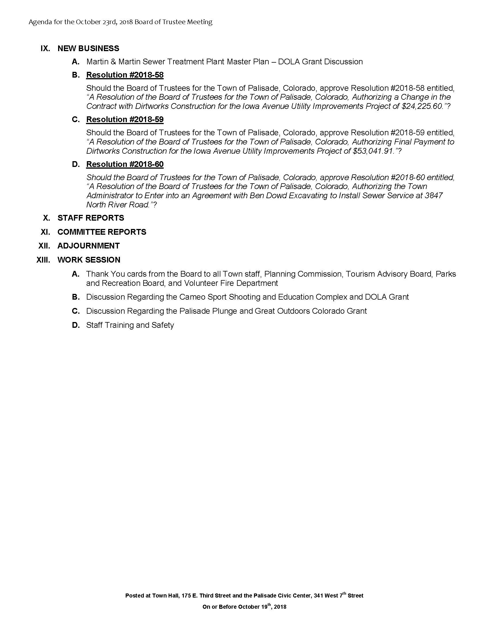 October 23rd 2018 Board Meeting Agenda Page 2