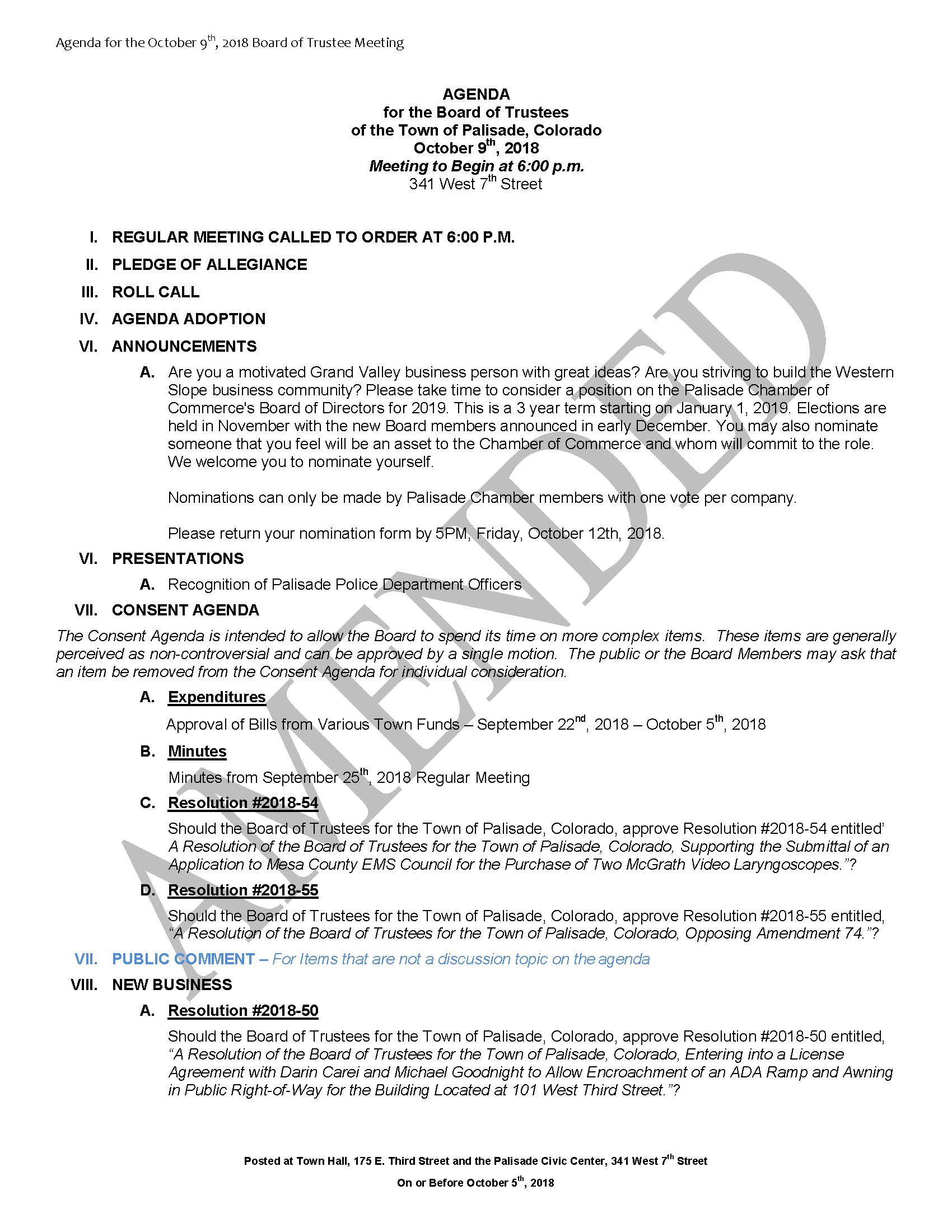 October 9th 2018 Board Meeting Agenda Page 1