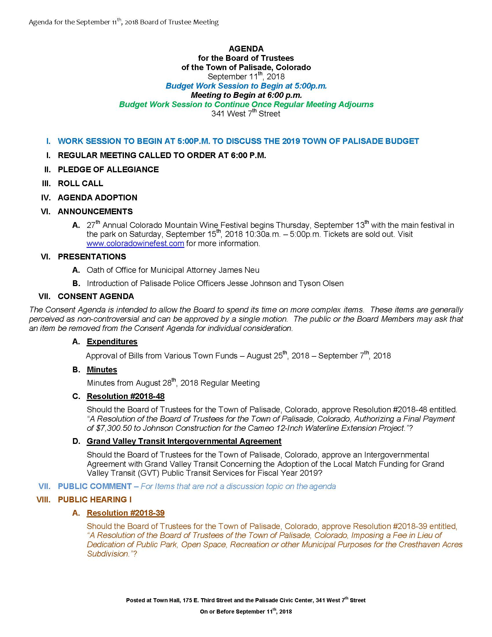September 11th 2018 Board Meeting Agenda Page 1