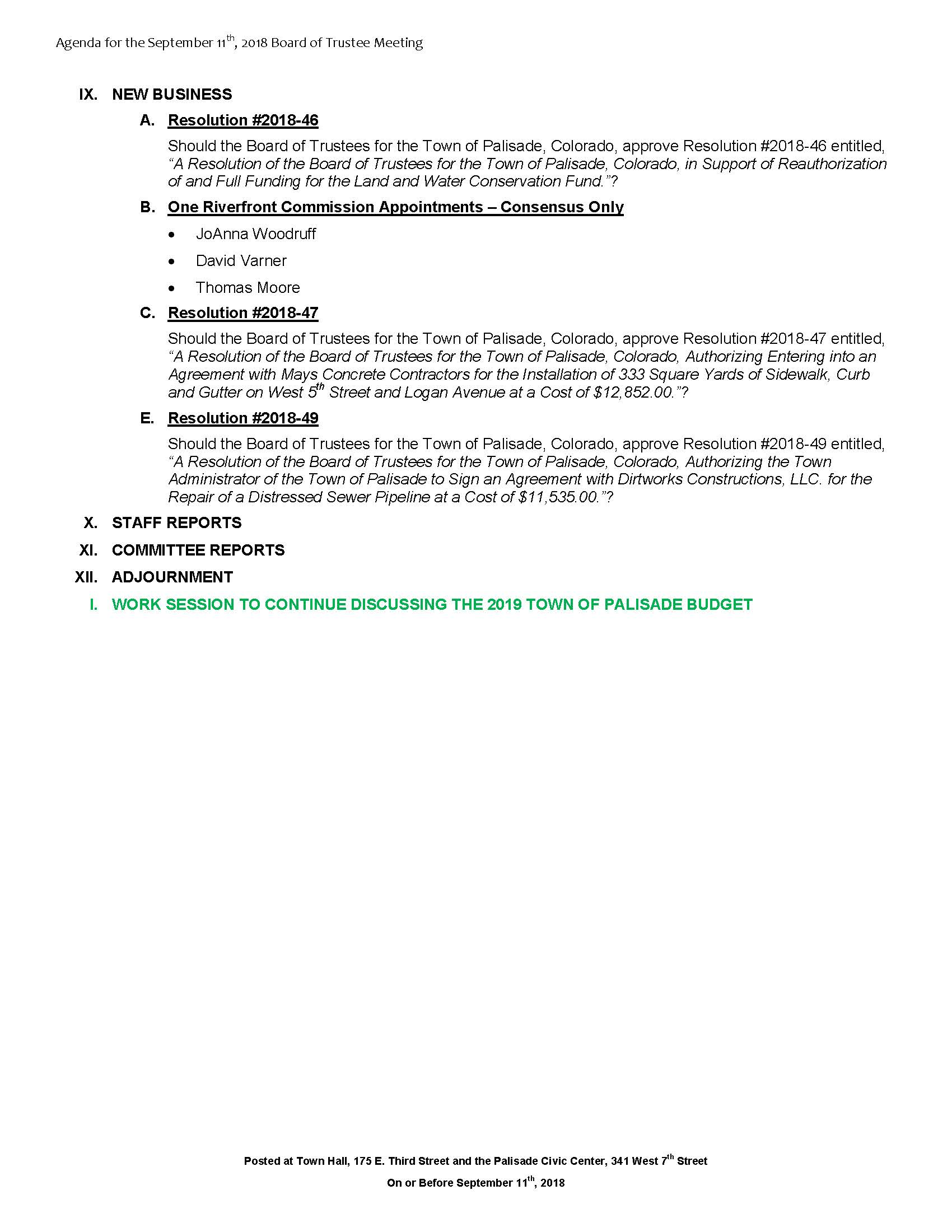 September 11th 2018 Board Meeting Agenda Page 2
