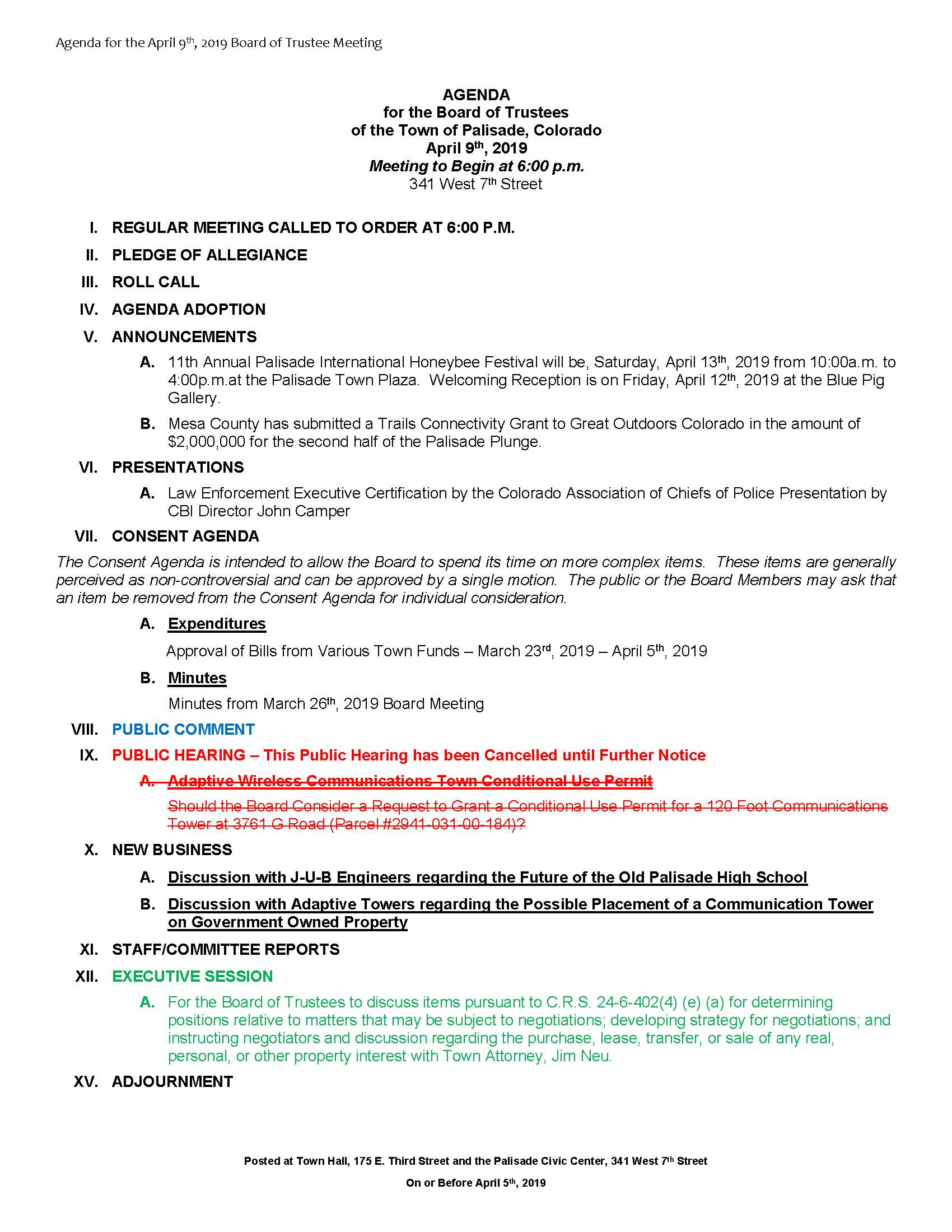 April 9th 2019 Board Meeting Agenda