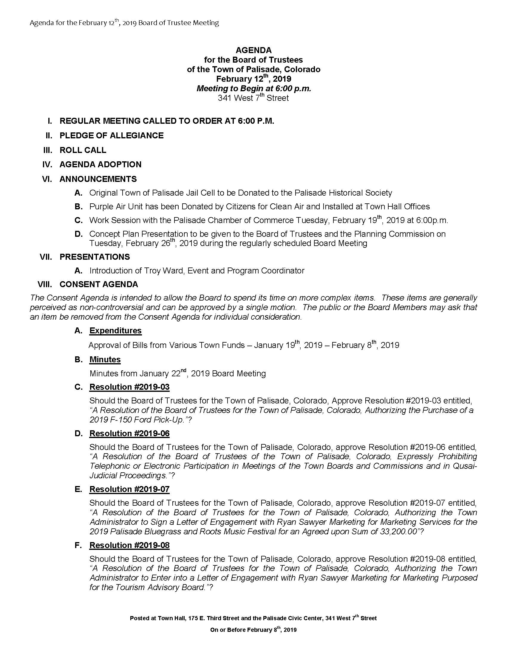 February 12th 2019 Board Meeting Agenda Page 1