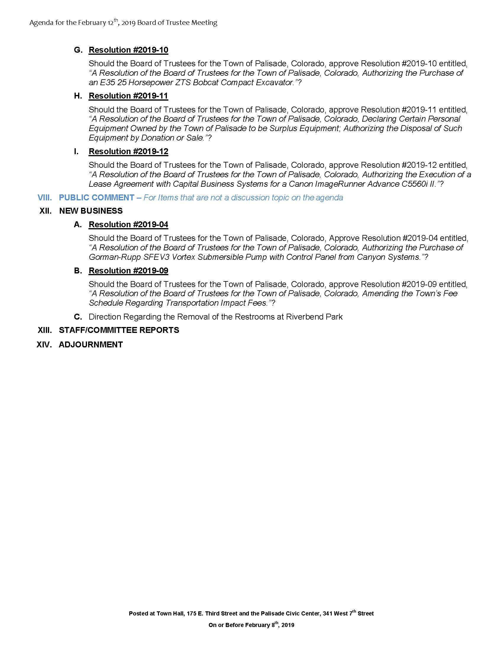 February 12th 2019 Board Meeting Agenda Page 2