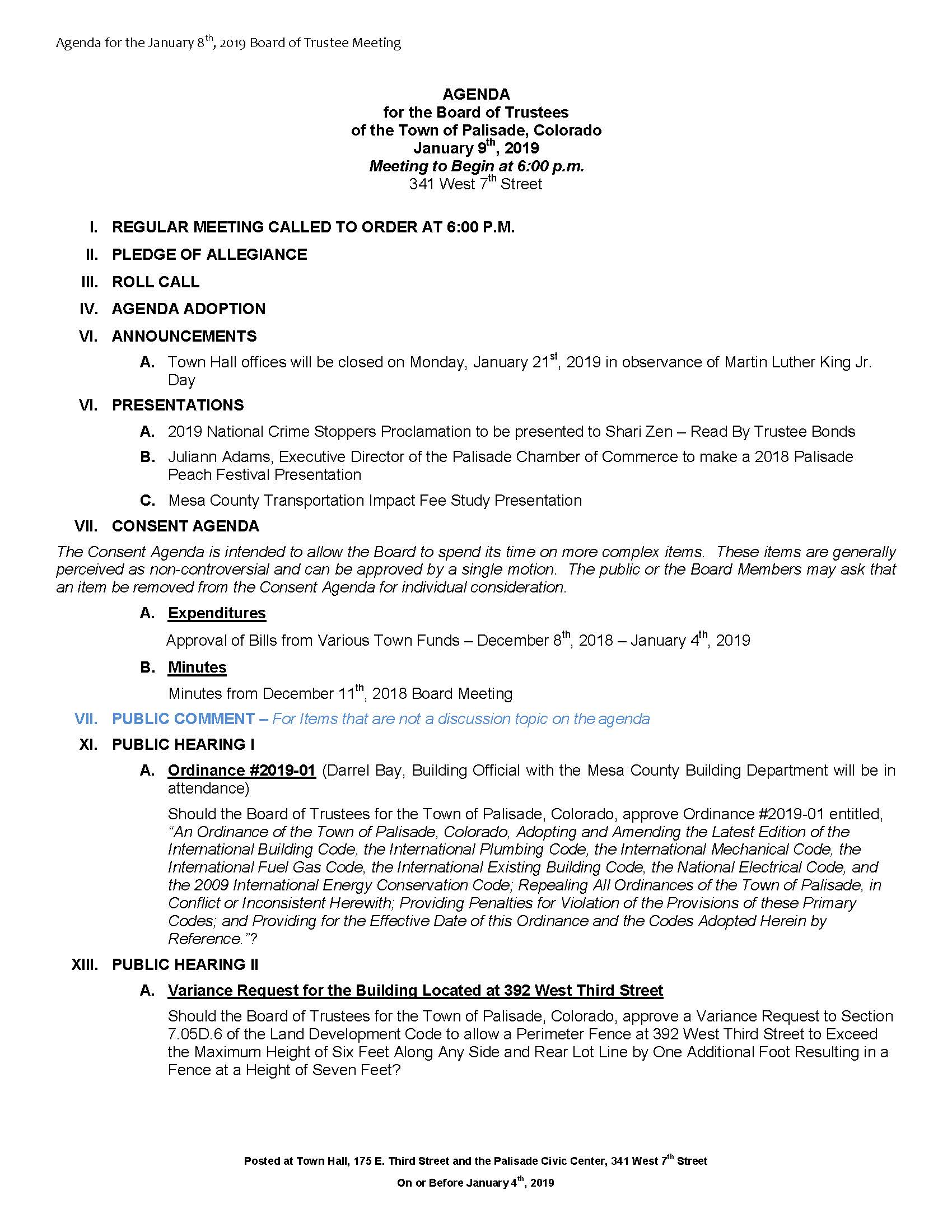 January 8th 2019 Board Meeting Agenda Page 1