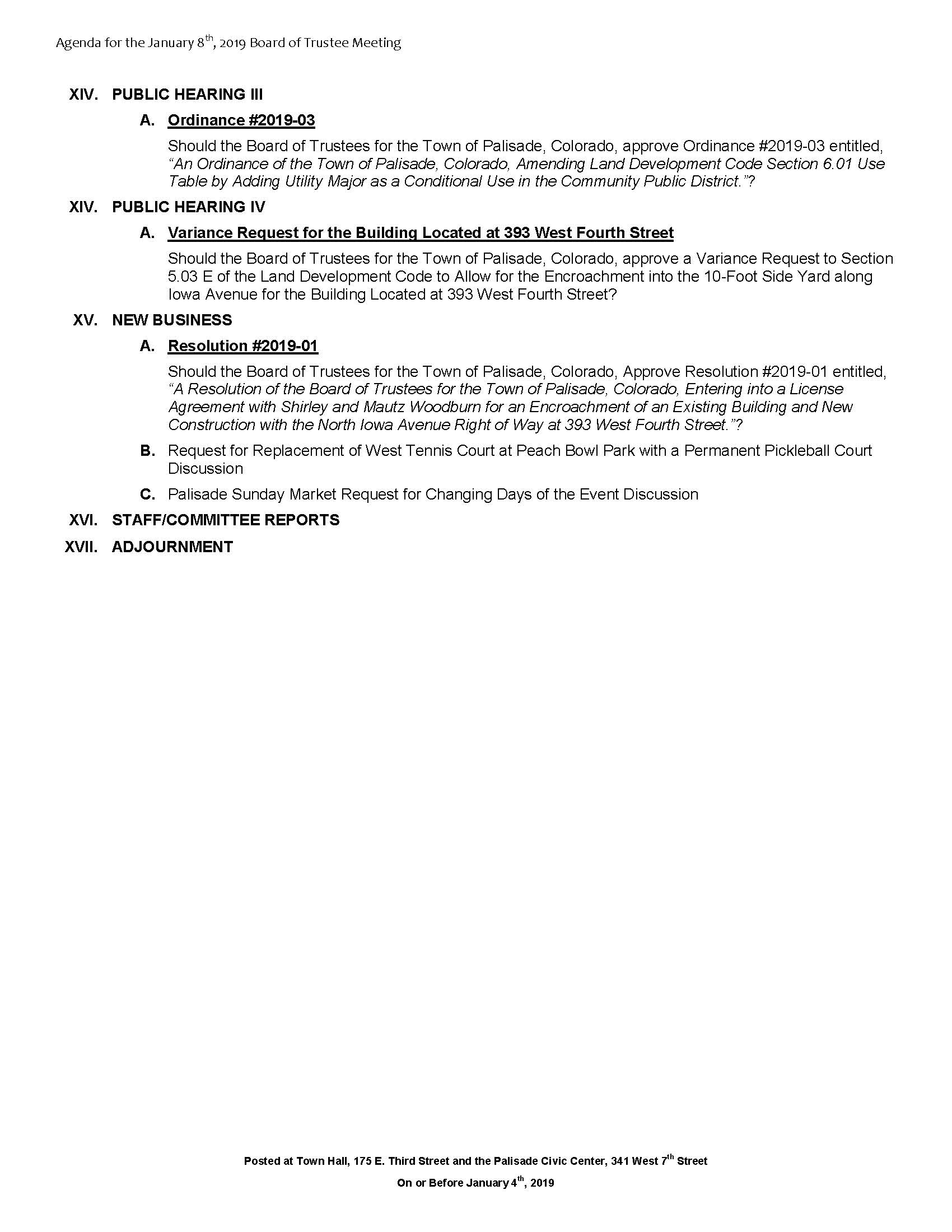 January 8th 2019 Board Meeting Agenda Page 2