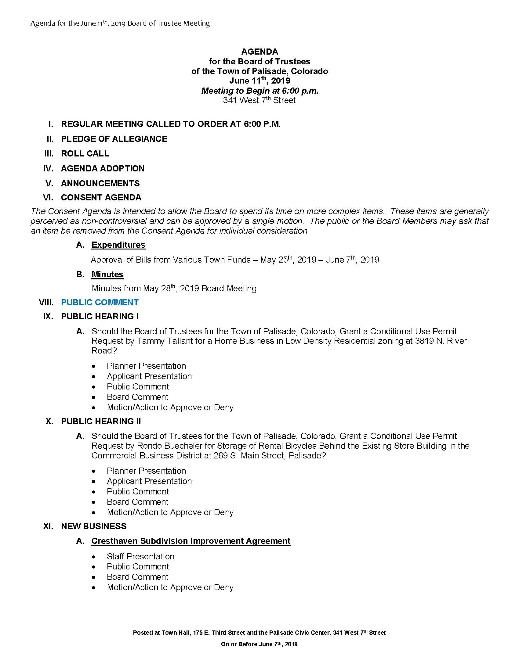June 11th 2019 Board Meeting Agenda Page 1
