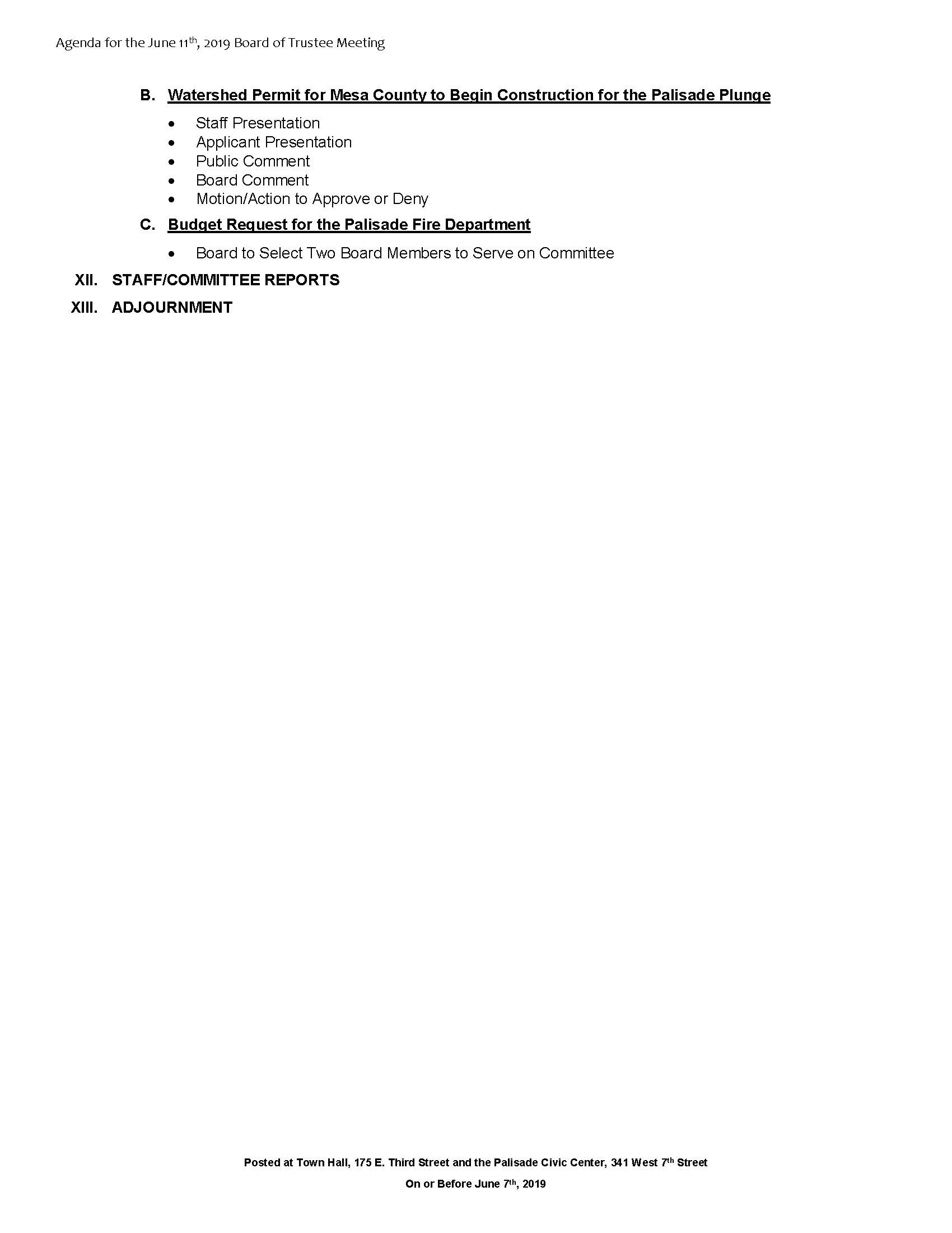 June 11th 2019 Board Meeting Agenda Page 2