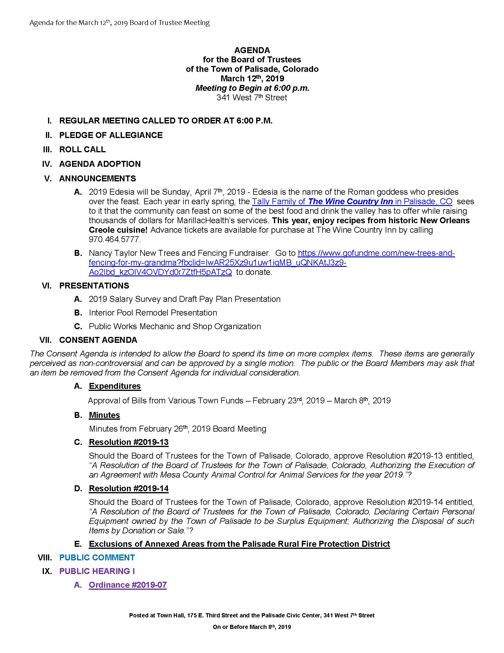 March 12th 2019 Board Meeting Agenda Page 1