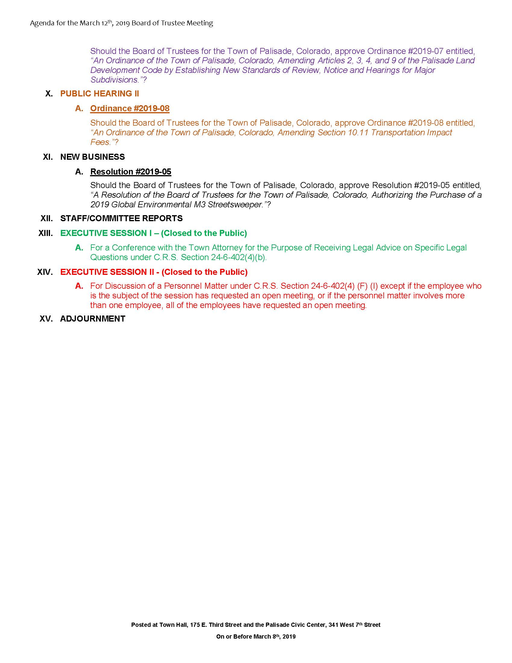 March 12th 2019 Board Meeting Agenda Page 2