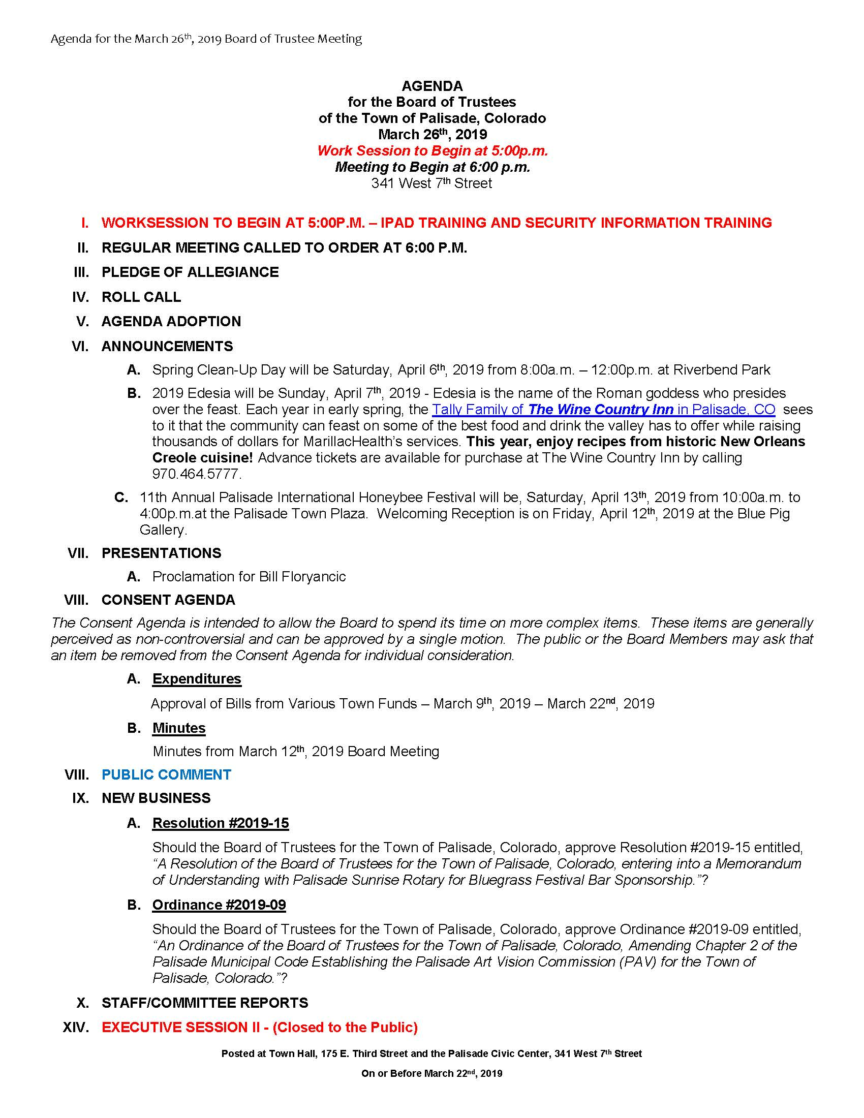 March 26th 2019 Board Meeting Agenda Page 1