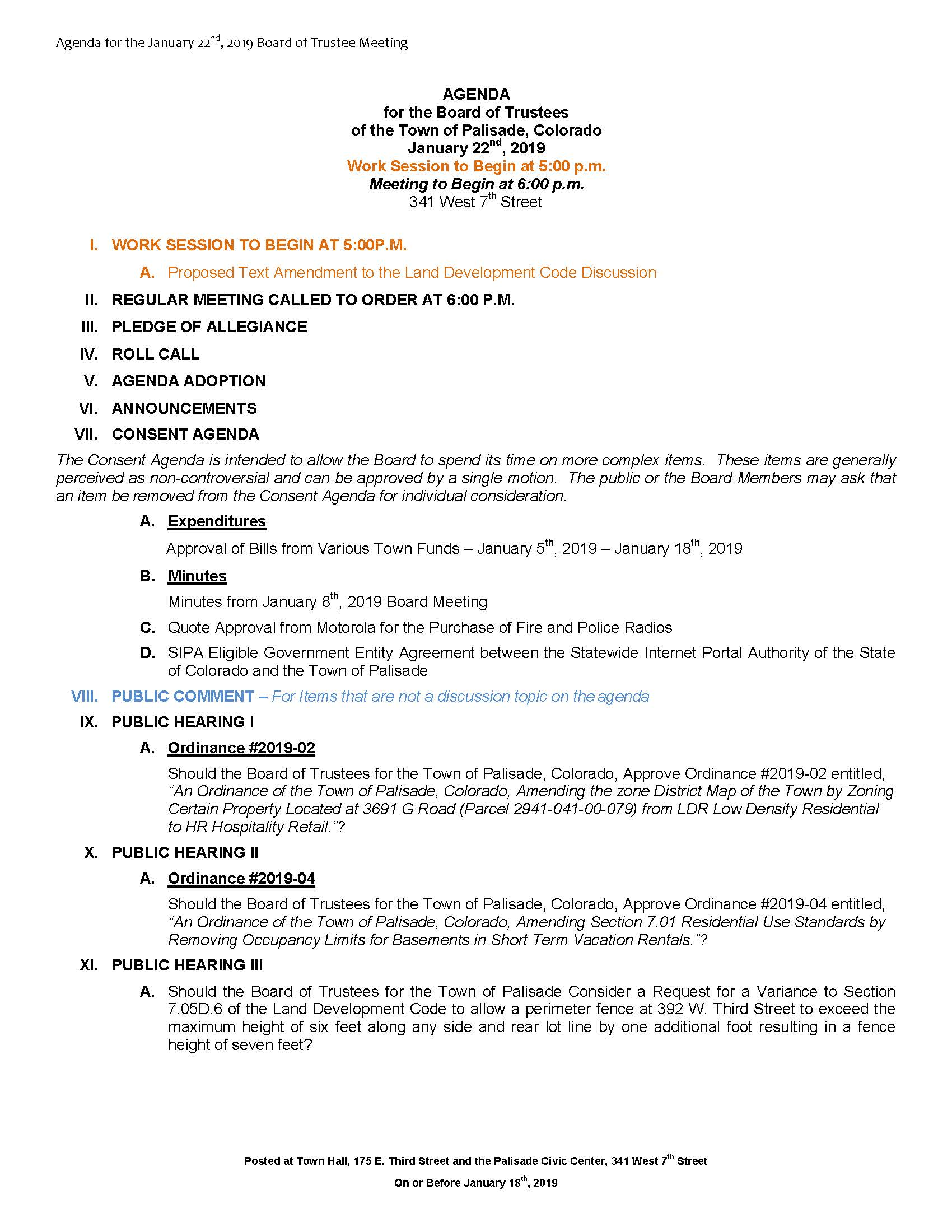 January 22nd 2019 Board Meeting Agenda Page 1