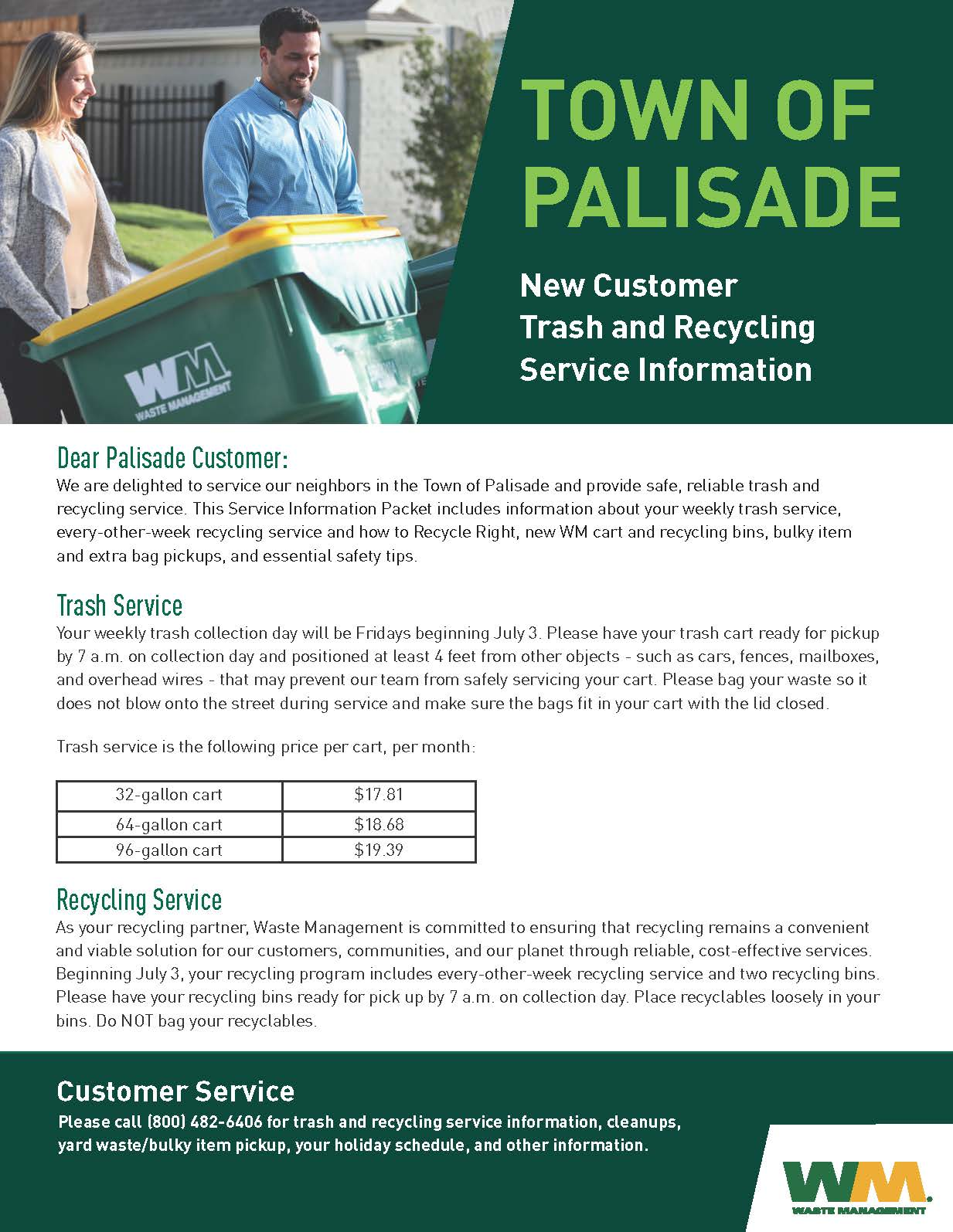 2020 Palisade New Customer Service Information Packet Waste Management Page 1