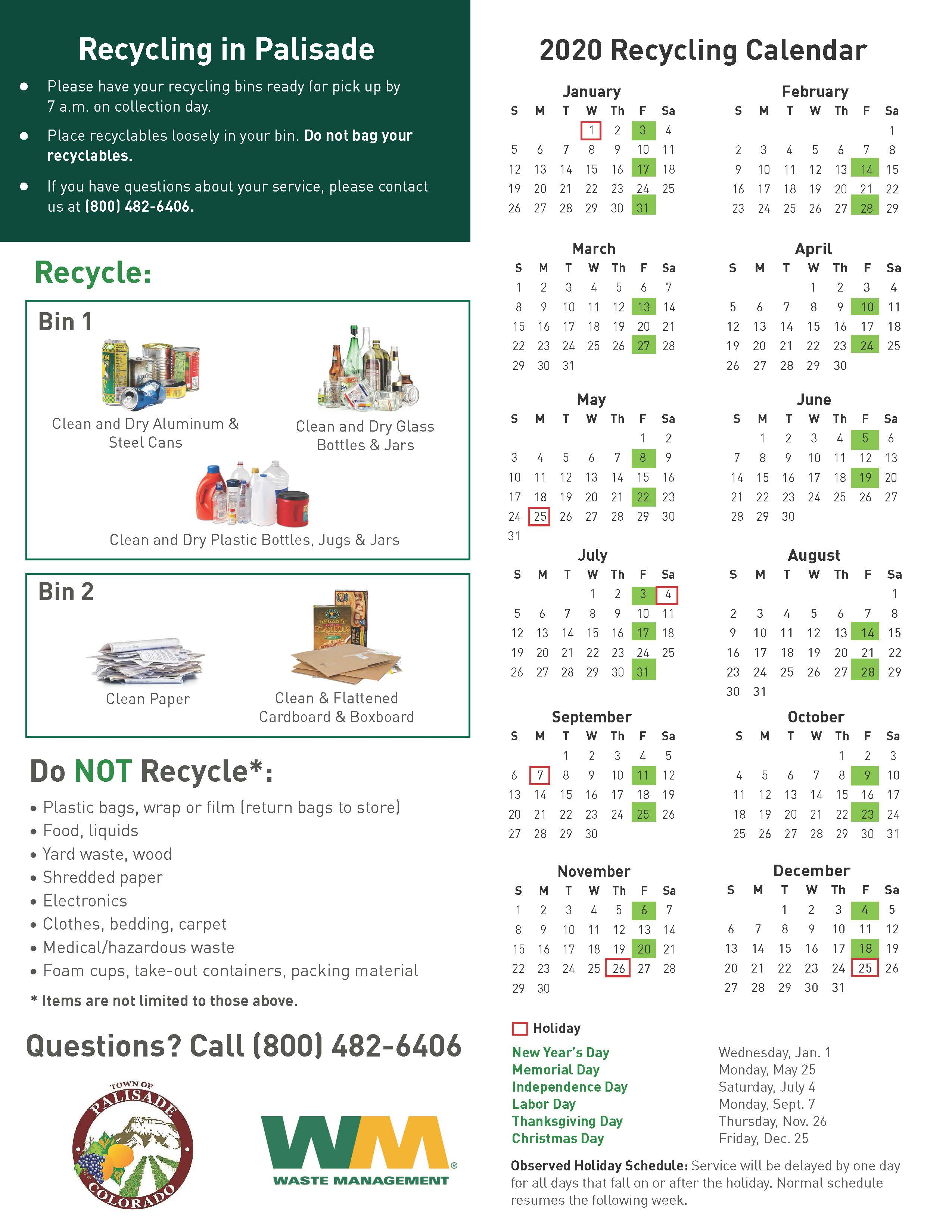 2020 Palisade New Customer Service Information Packet Waste Management Page 3
