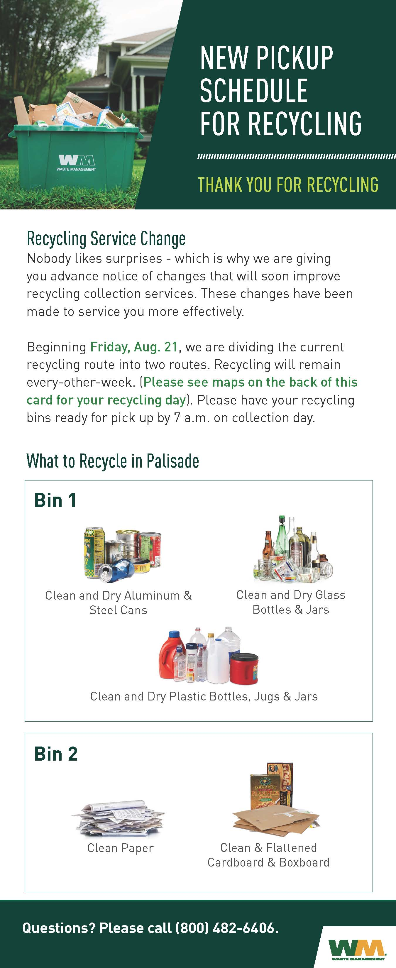 2020 Palisade Recycling Service Change Bin Card Page 1