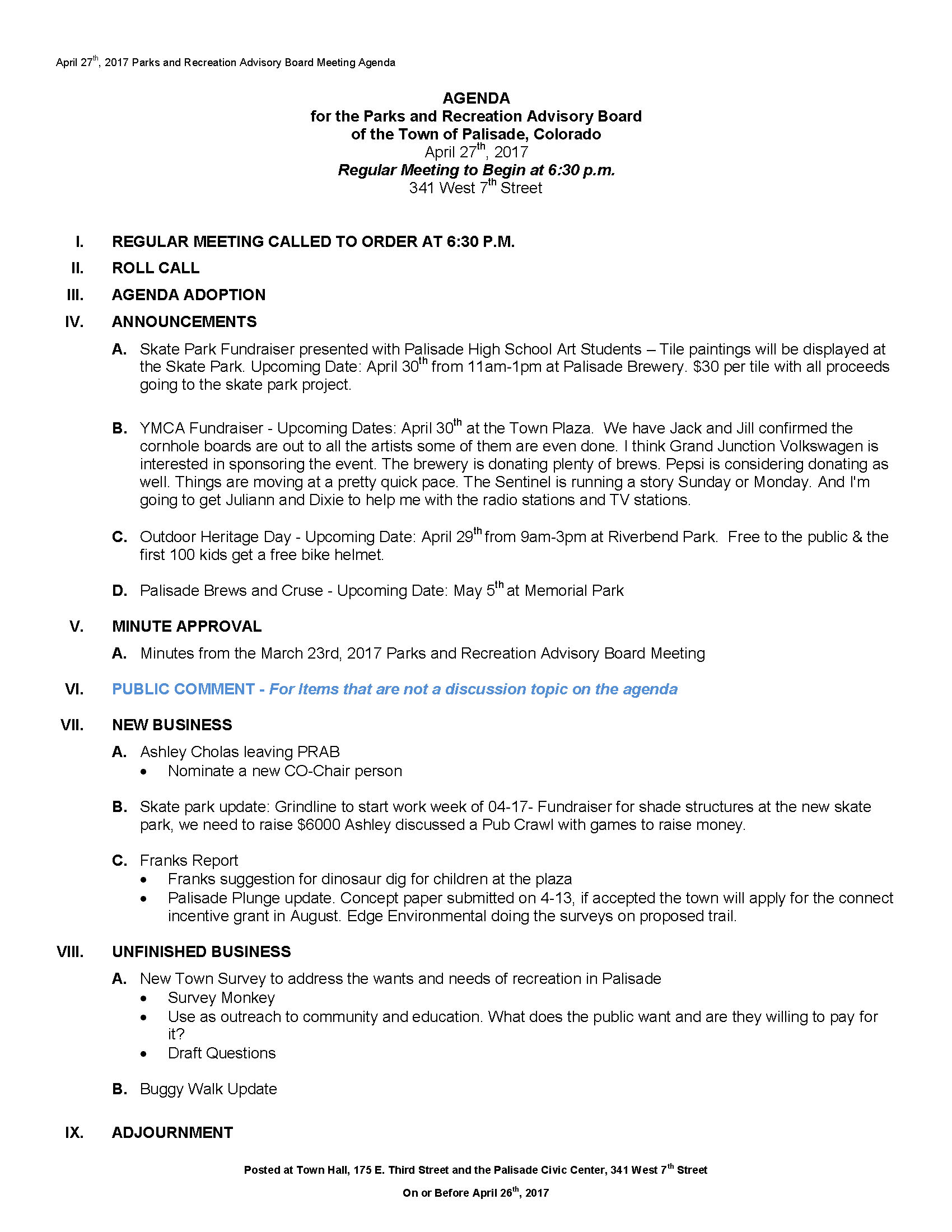 April 27th 2017 PRAC Meeting Agenda Page 1