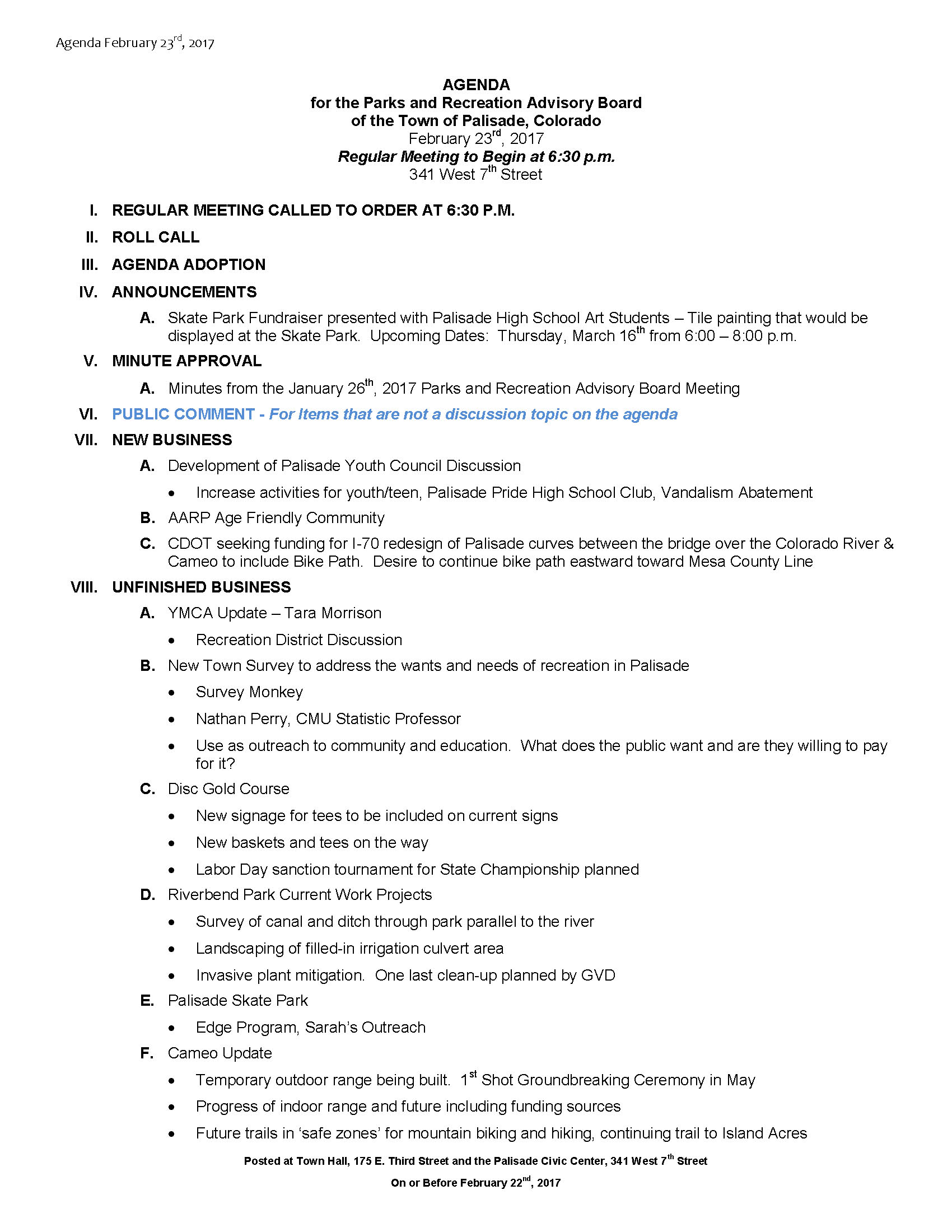 February 23rd 2017 PRAC Meeting Agenda Page 1